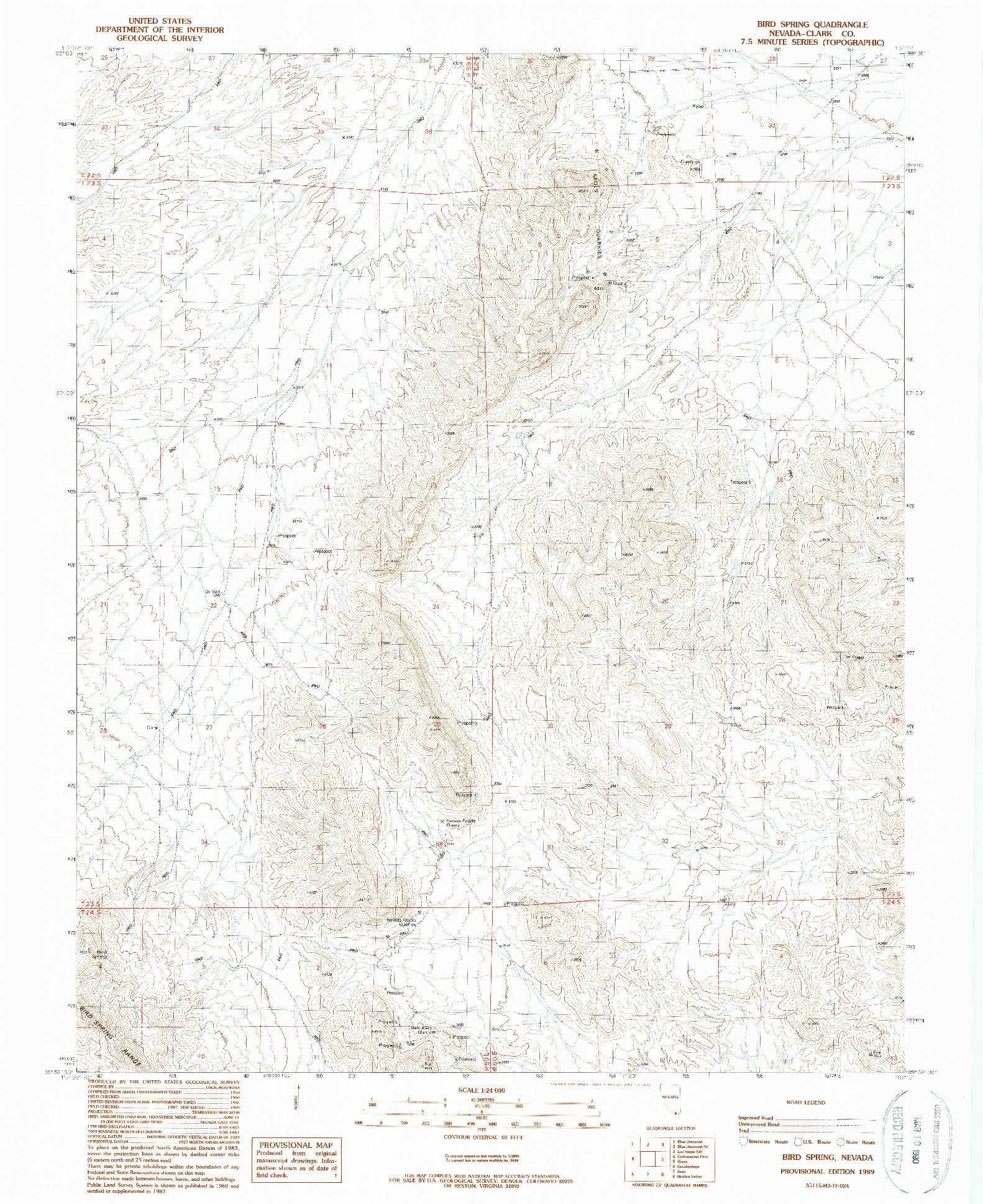 USGS 1:24000-SCALE QUADRANGLE FOR BIRD SPRING, NV 1989