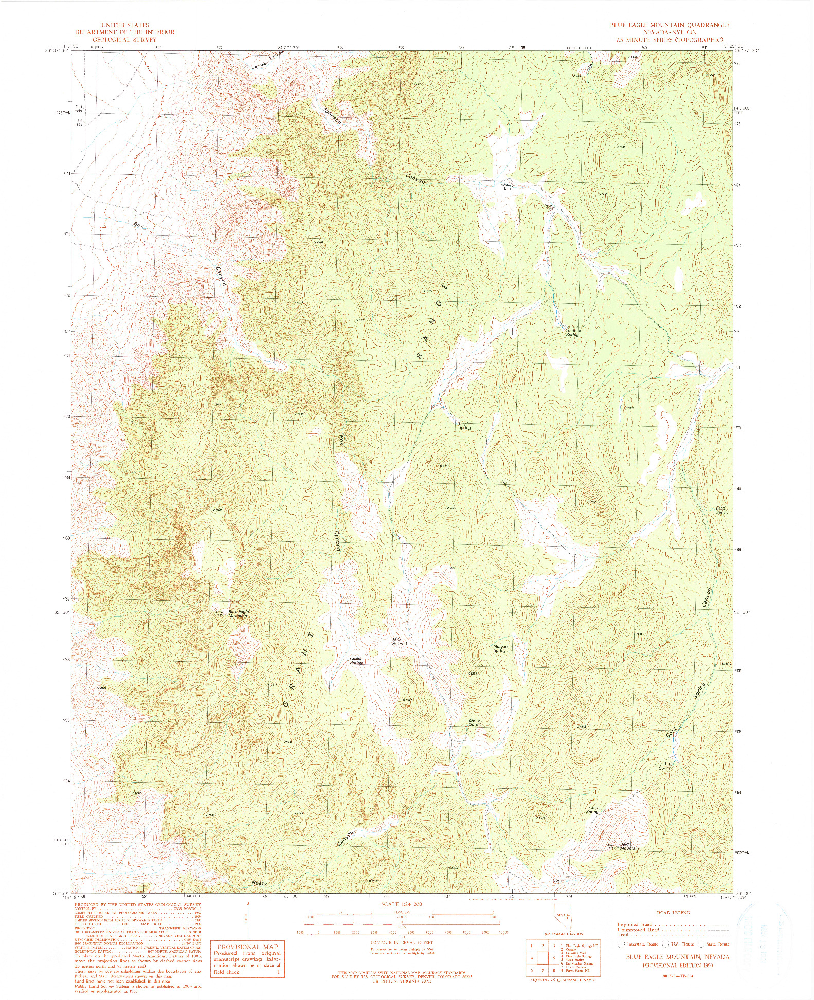 USGS 1:24000-SCALE QUADRANGLE FOR BLUE EAGLE MOUNTAIN, NV 1990