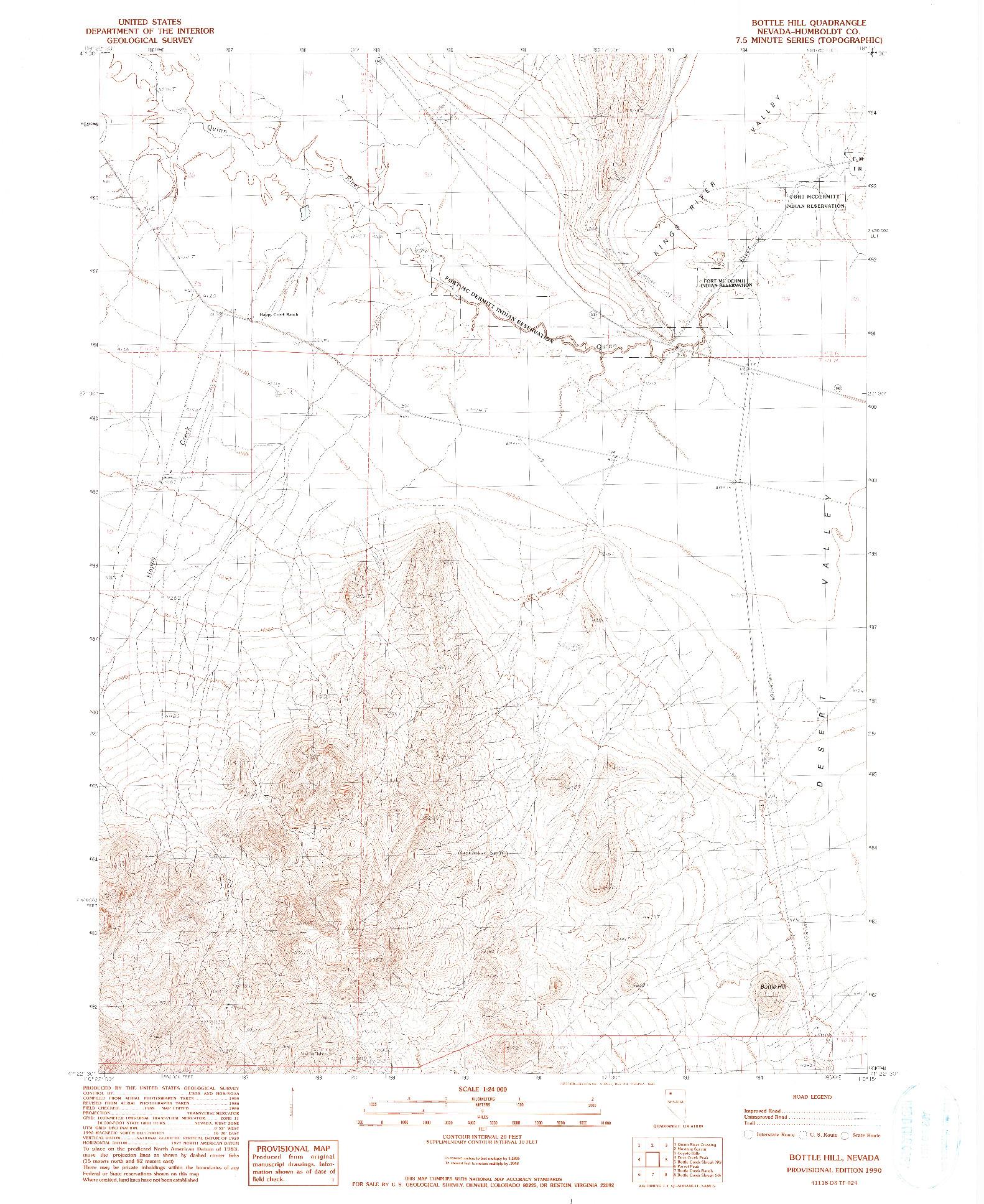 USGS 1:24000-SCALE QUADRANGLE FOR BOTTLE HILL, NV 1990