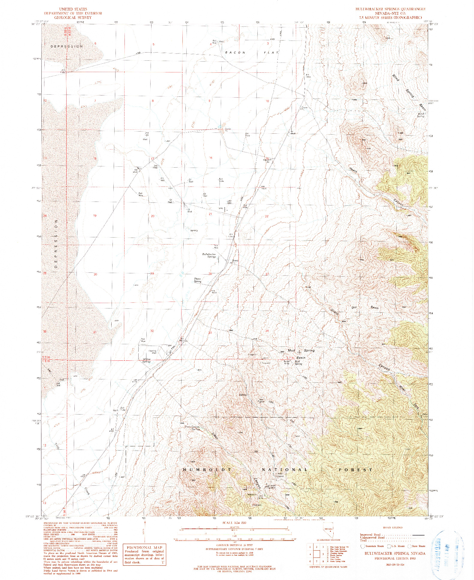 USGS 1:24000-SCALE QUADRANGLE FOR BULLWHACKER SPRINGS, NV 1990