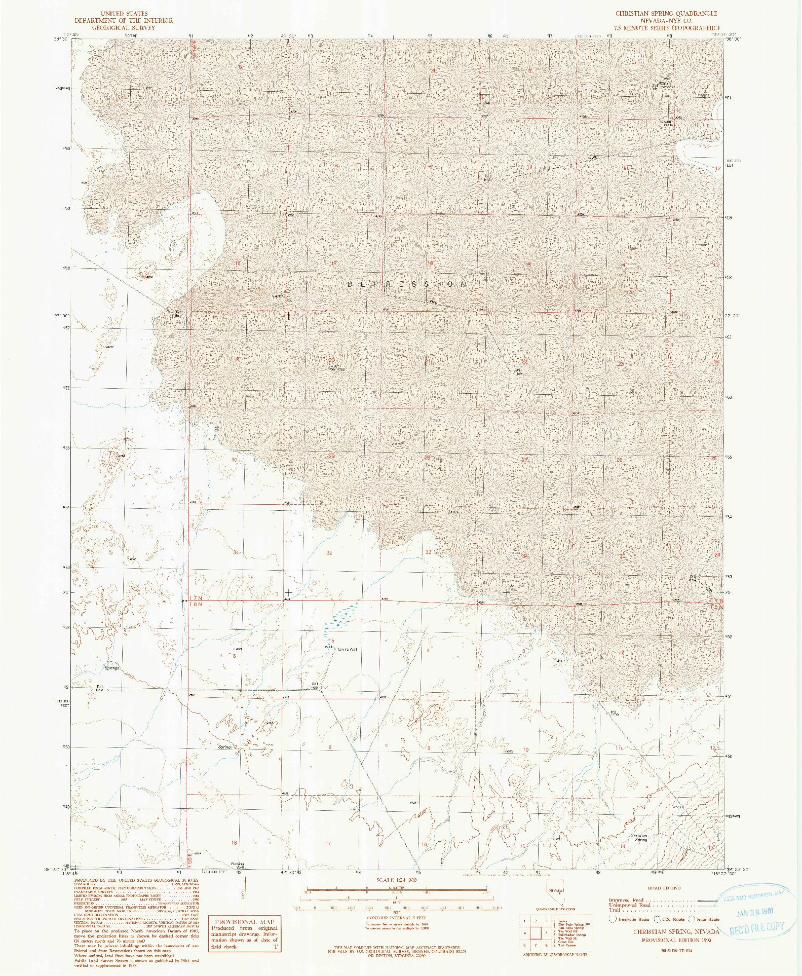 USGS 1:24000-SCALE QUADRANGLE FOR CHRISTIAN SPRING, NV 1990