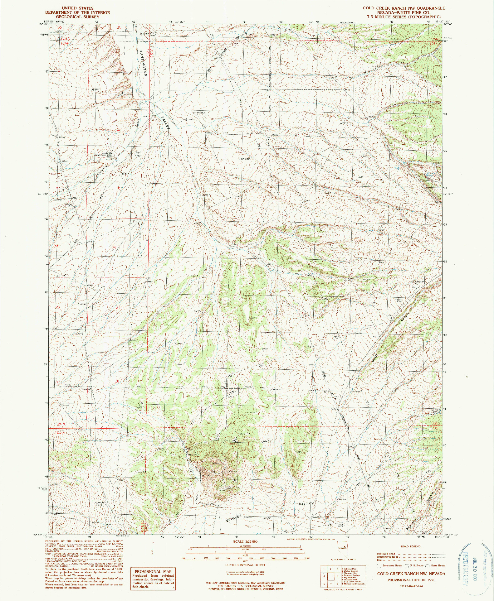 USGS 1:24000-SCALE QUADRANGLE FOR COLD CREEK RANCH NW, NV 1990