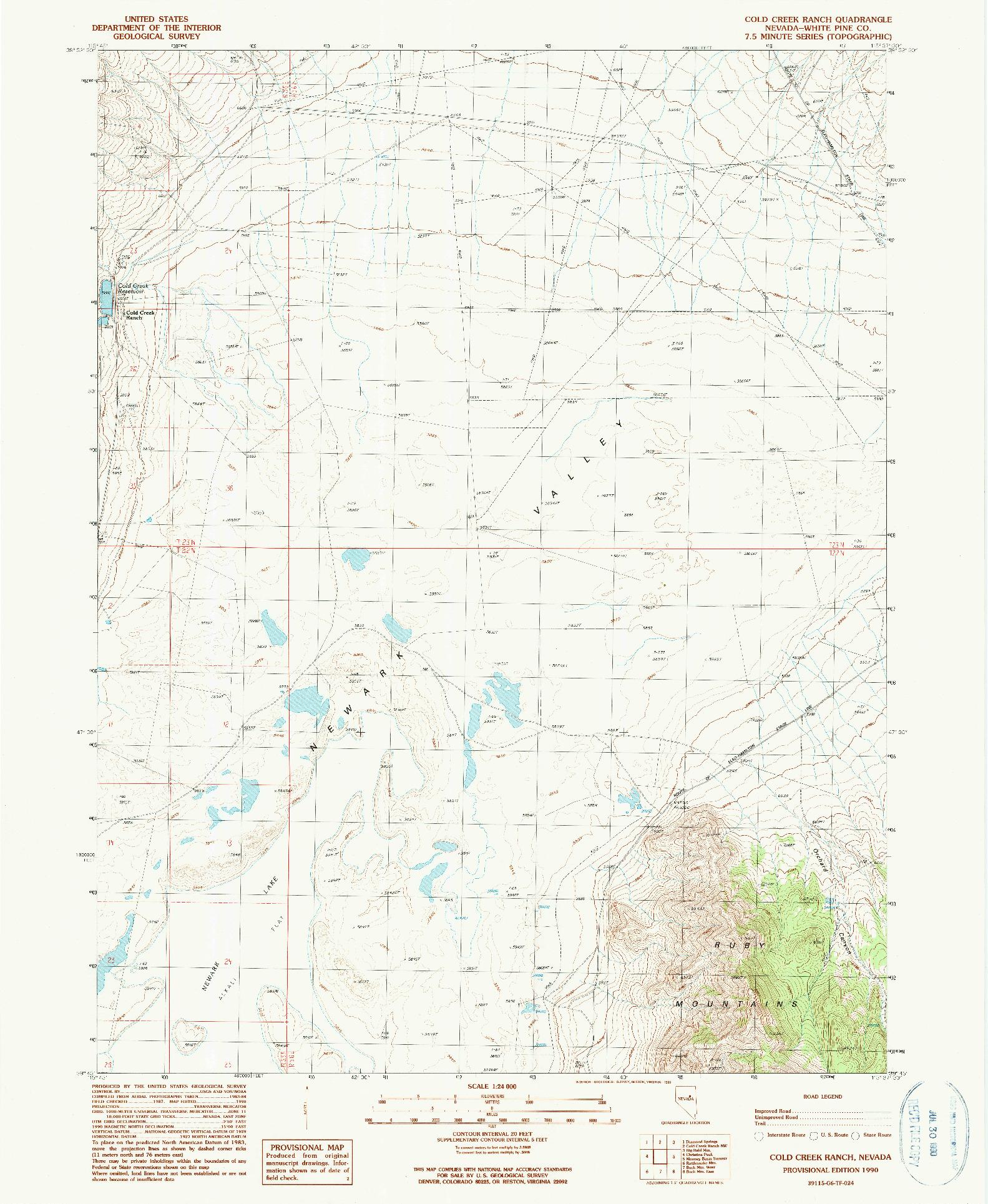 USGS 1:24000-SCALE QUADRANGLE FOR COLD CREEK RANCH, NV 1990