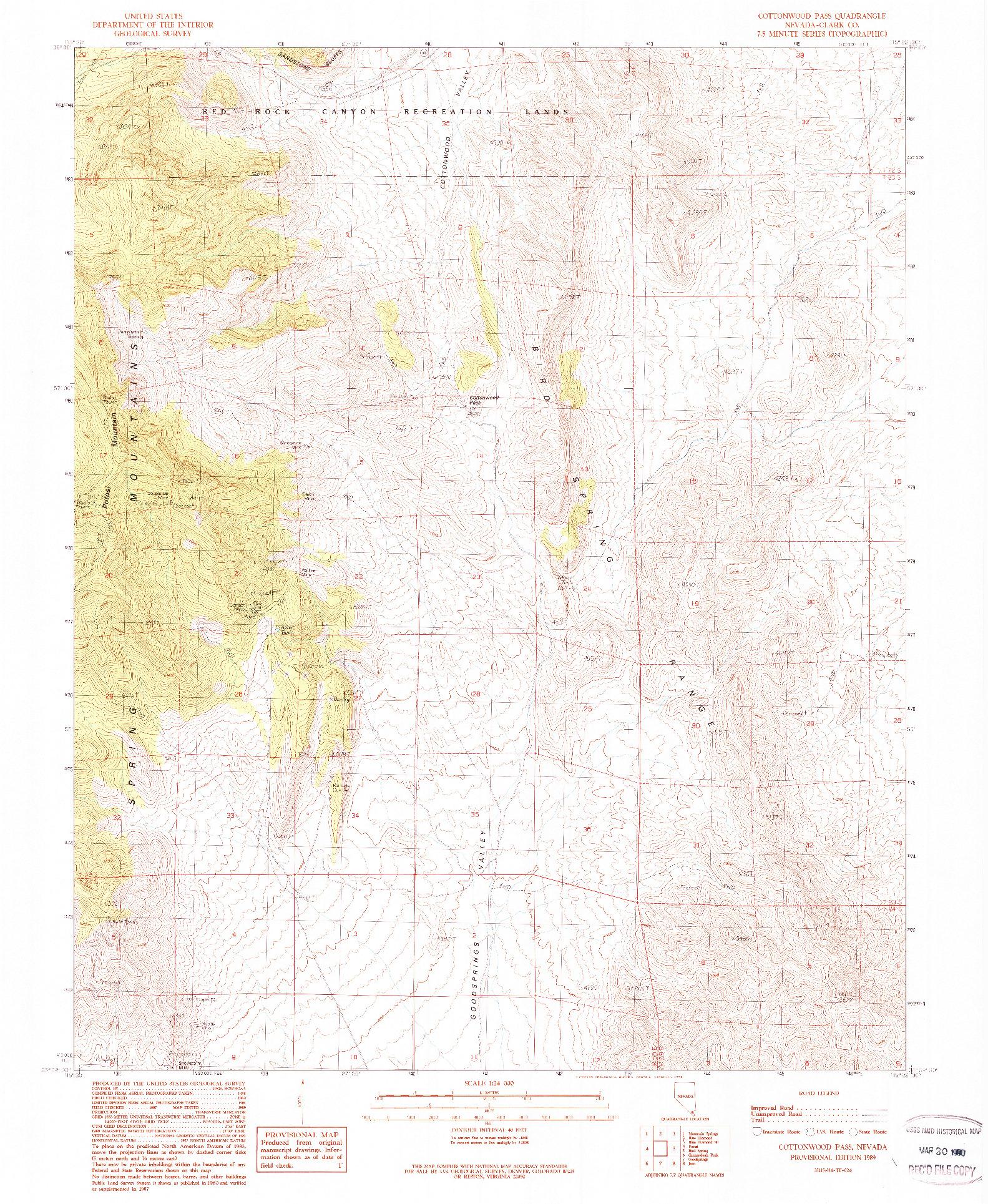 USGS 1:24000-SCALE QUADRANGLE FOR COTTONWOOD PASS, NV 1989