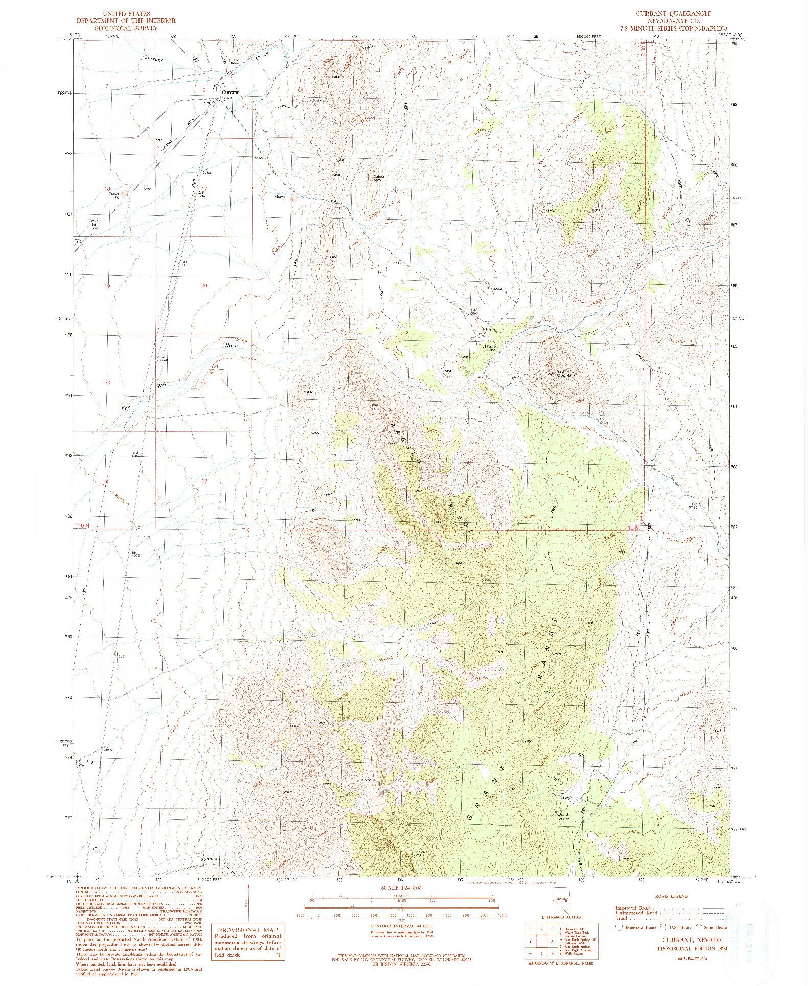 USGS 1:24000-SCALE QUADRANGLE FOR CURRANT, NV 1990