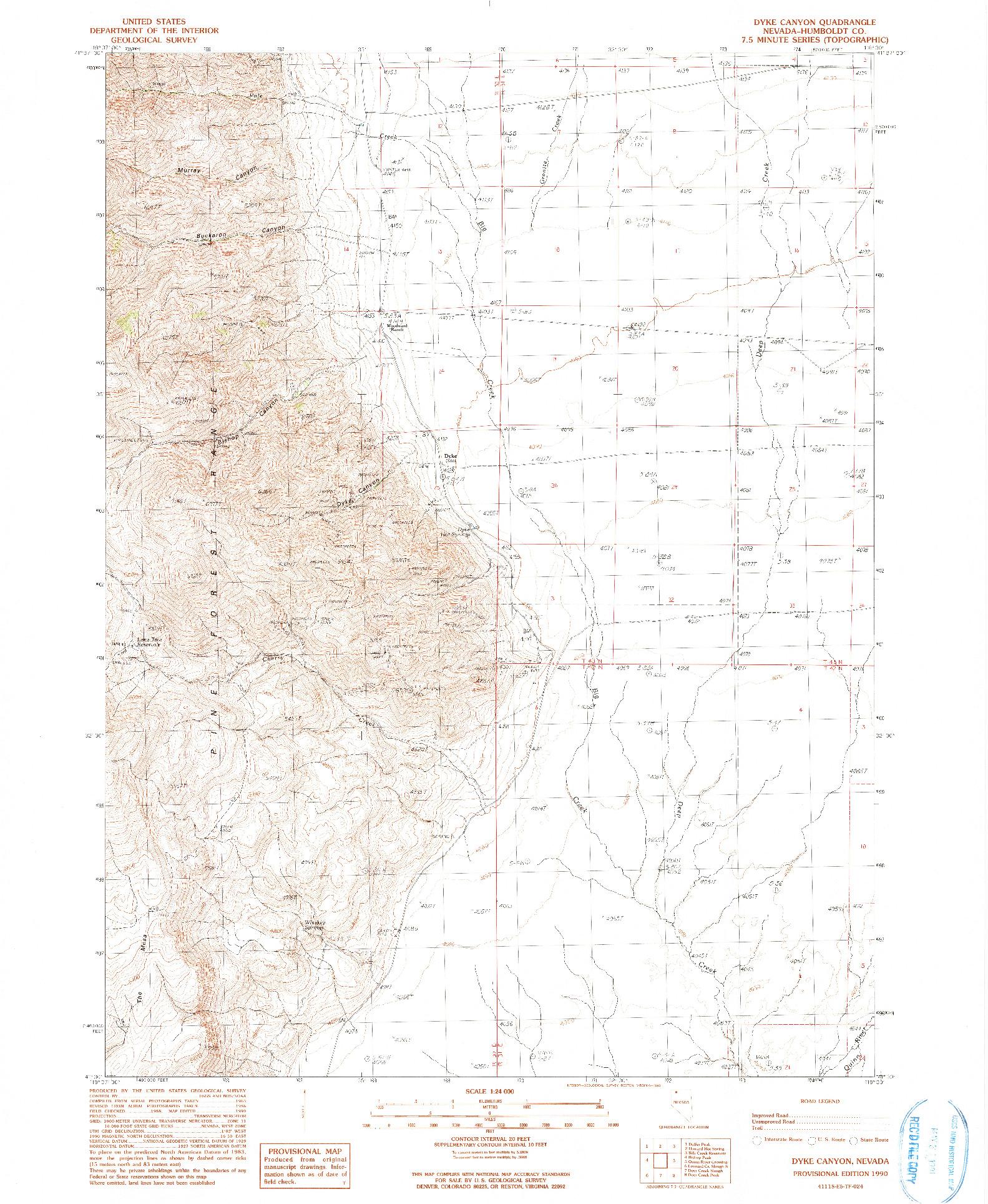 USGS 1:24000-SCALE QUADRANGLE FOR DYKE CANYON, NV 1990