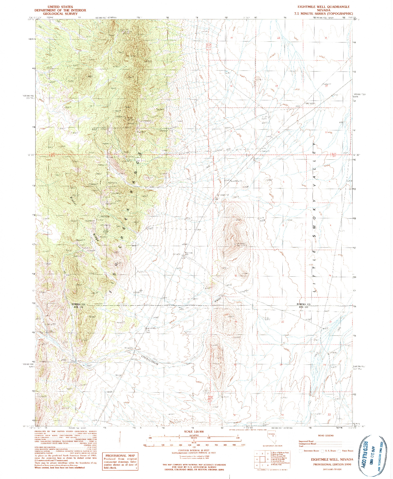 USGS 1:24000-SCALE QUADRANGLE FOR EIGHTMILE WELL, NV 1990