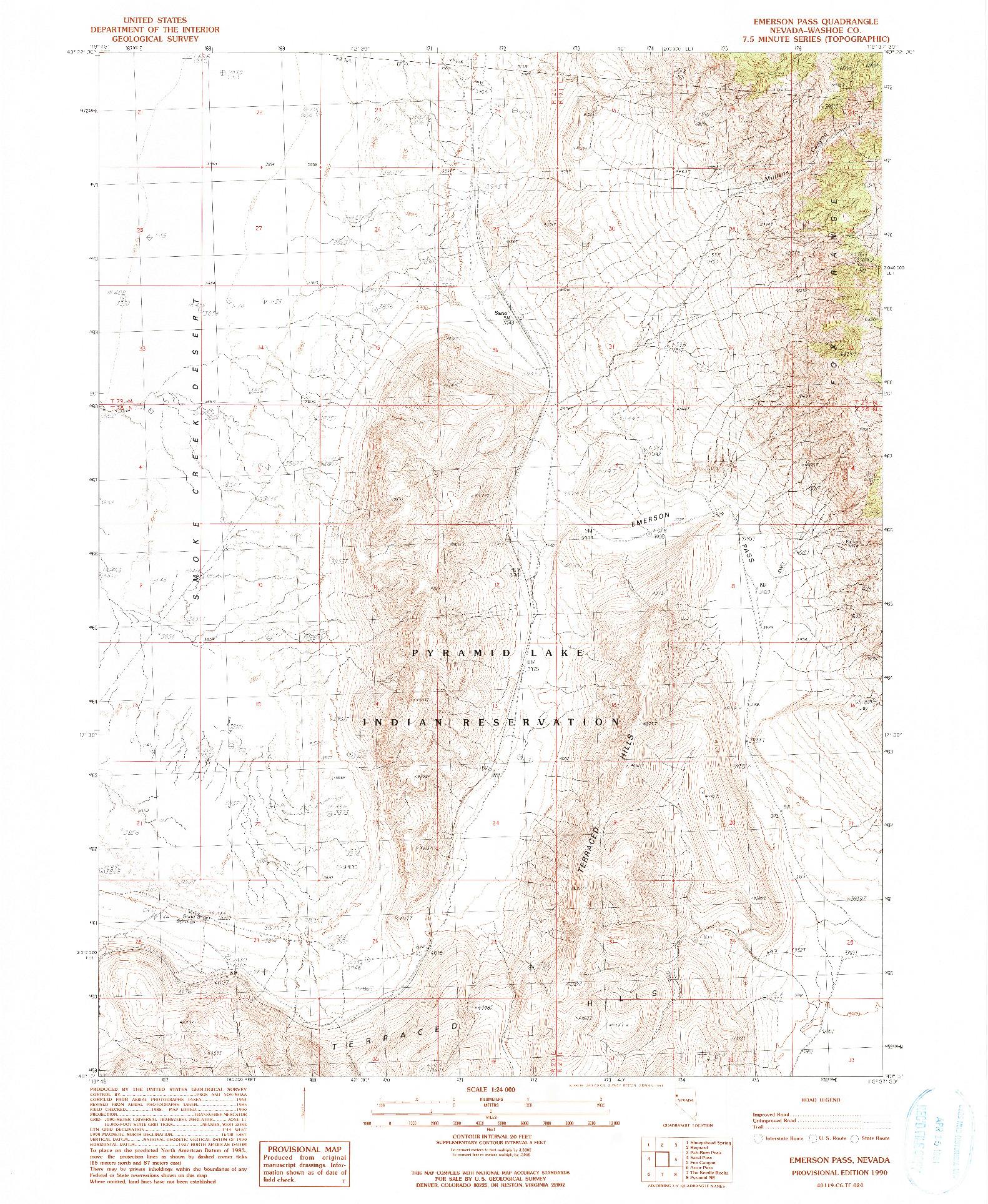USGS 1:24000-SCALE QUADRANGLE FOR EMERSON PASS, NV 1990