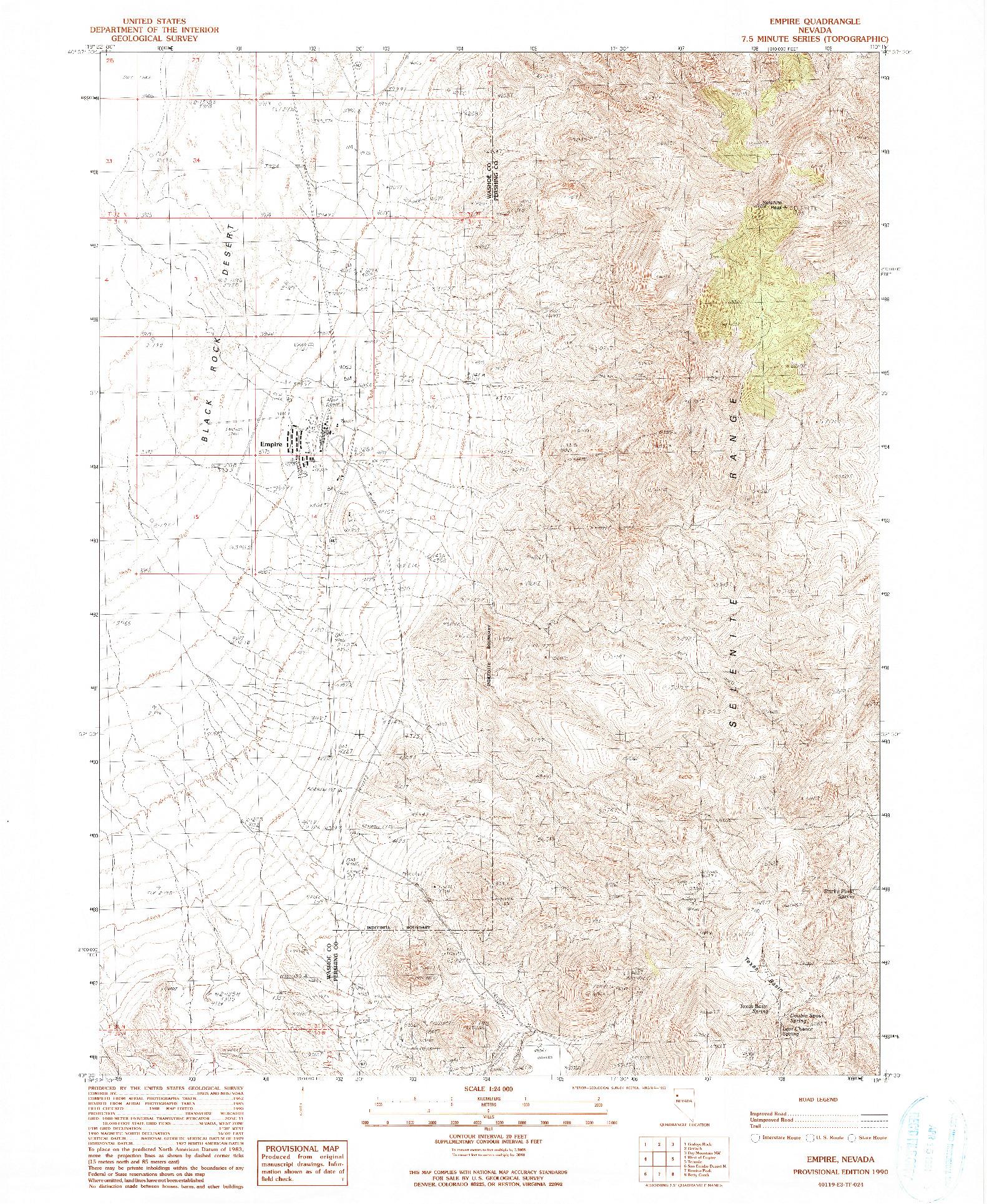 USGS 1:24000-SCALE QUADRANGLE FOR EMPIRE, NV 1990