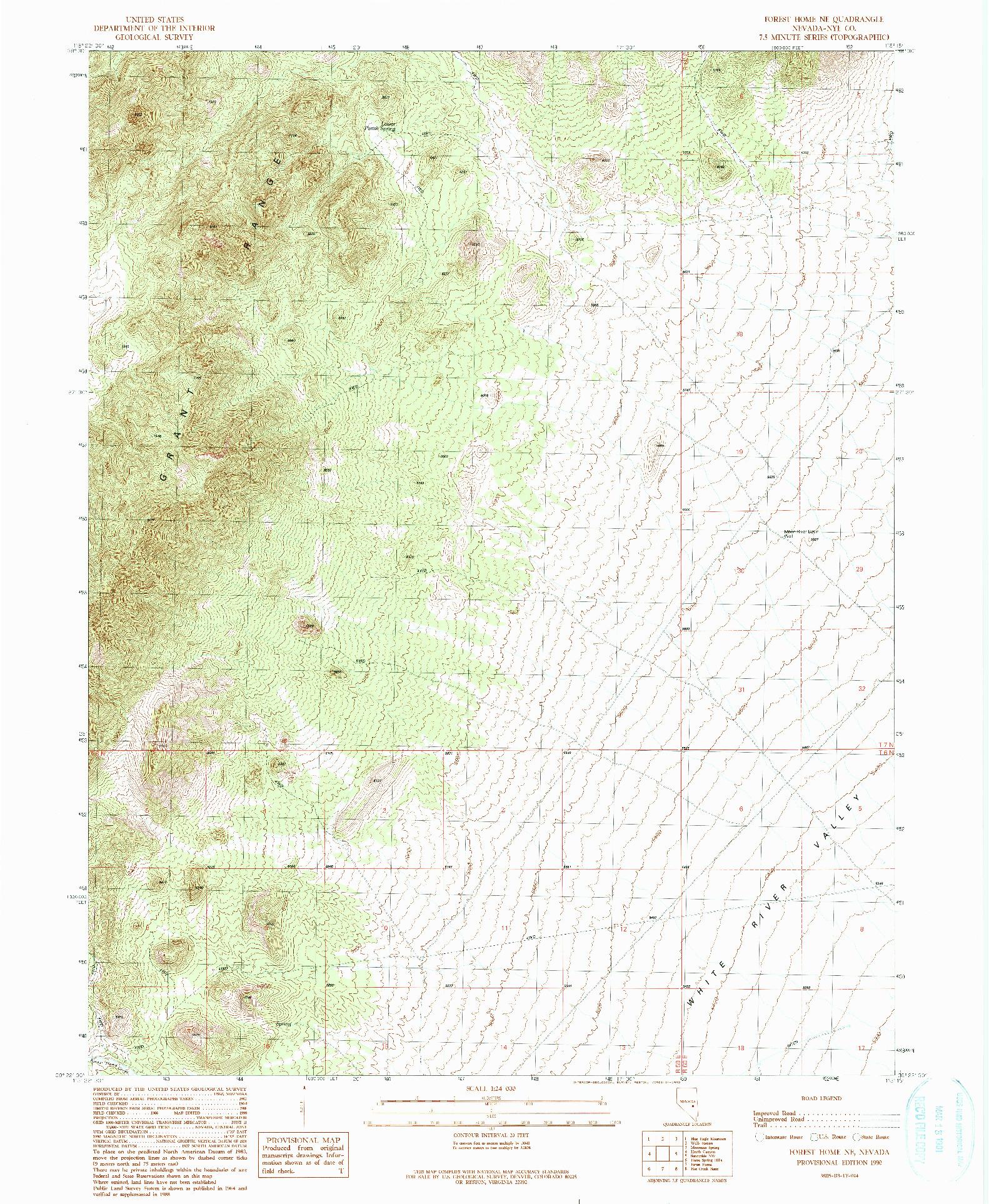 USGS 1:24000-SCALE QUADRANGLE FOR FOREST HOME NE, NV 1990
