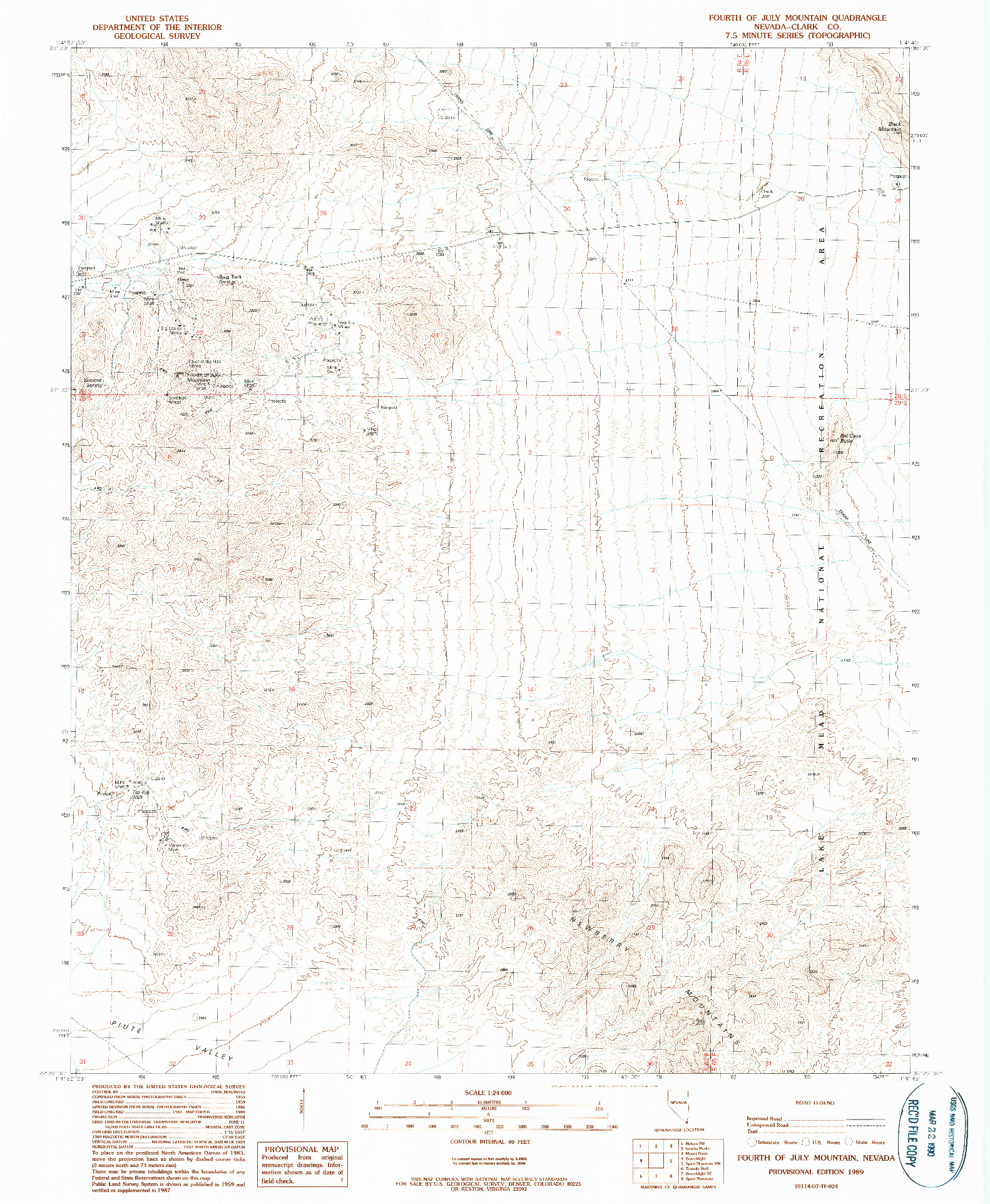 USGS 1:24000-SCALE QUADRANGLE FOR FOURTH OF JULY MOUNTAIN, NV 1989