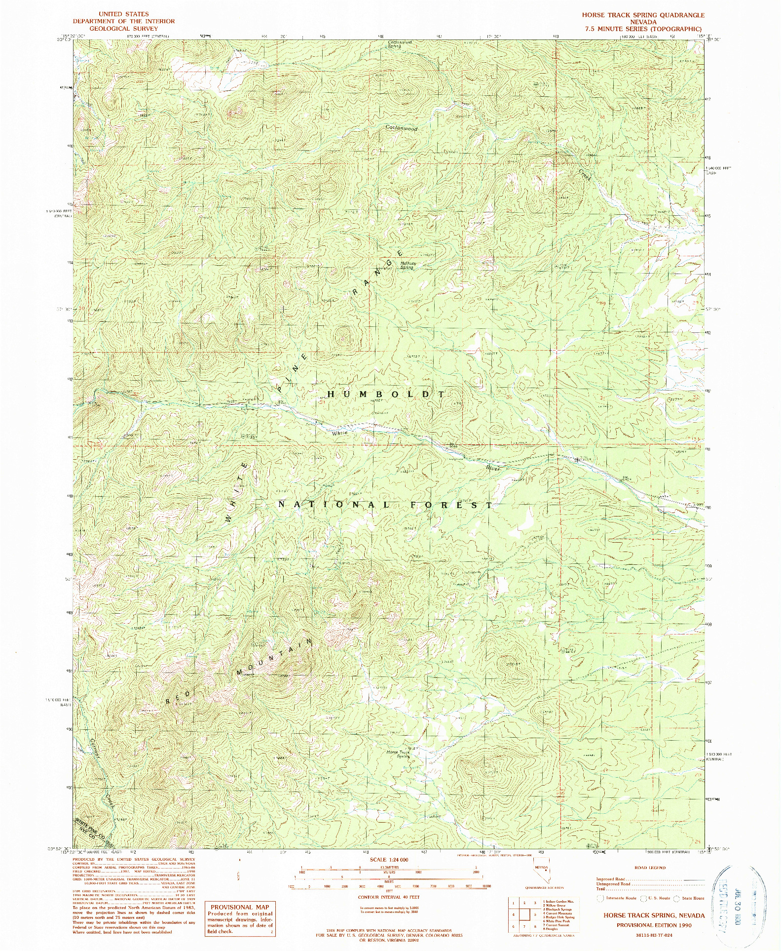 USGS 1:24000-SCALE QUADRANGLE FOR HORSE TRACK SPRING, NV 1990
