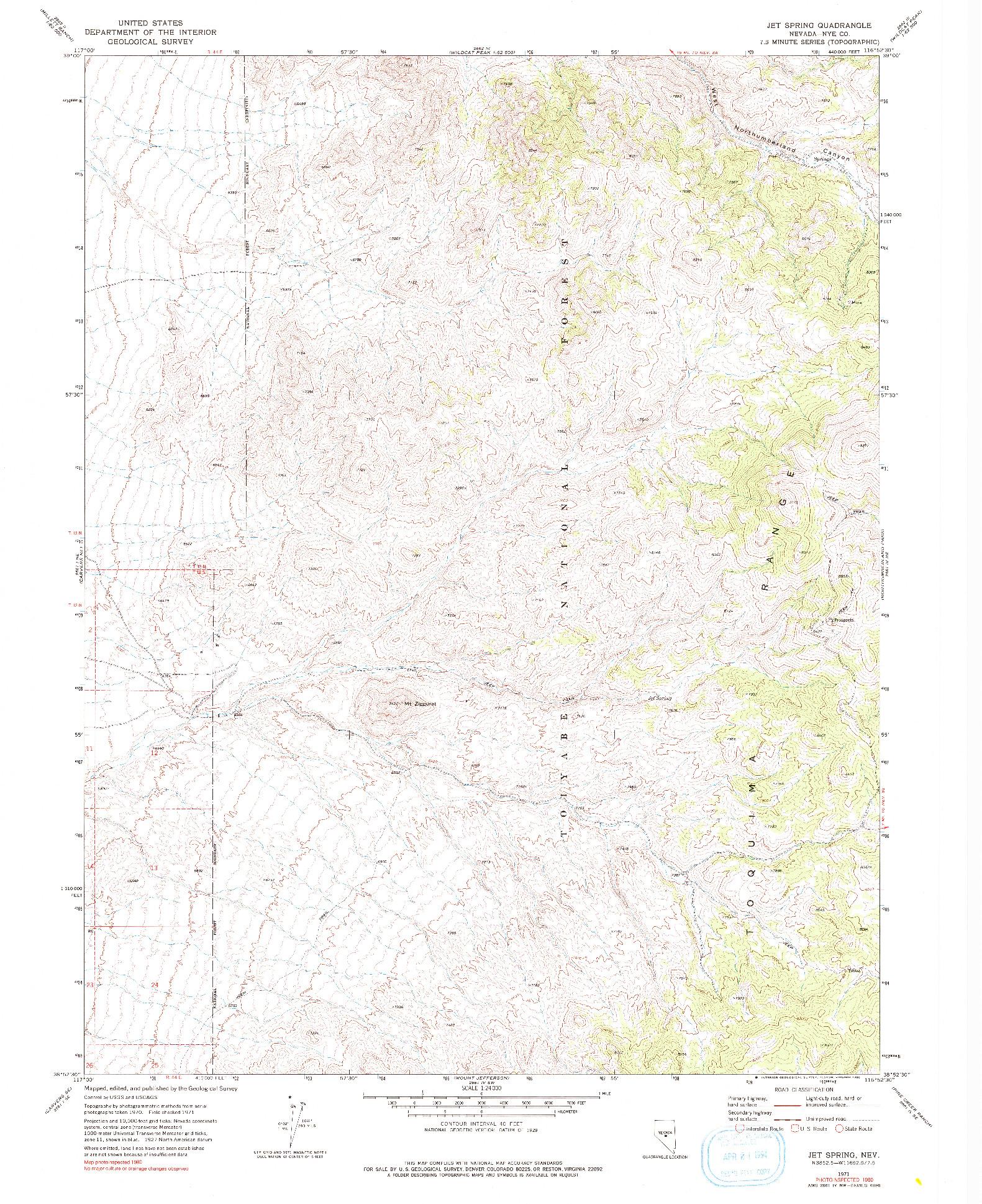 USGS 1:24000-SCALE QUADRANGLE FOR JET SPRING, NV 1971