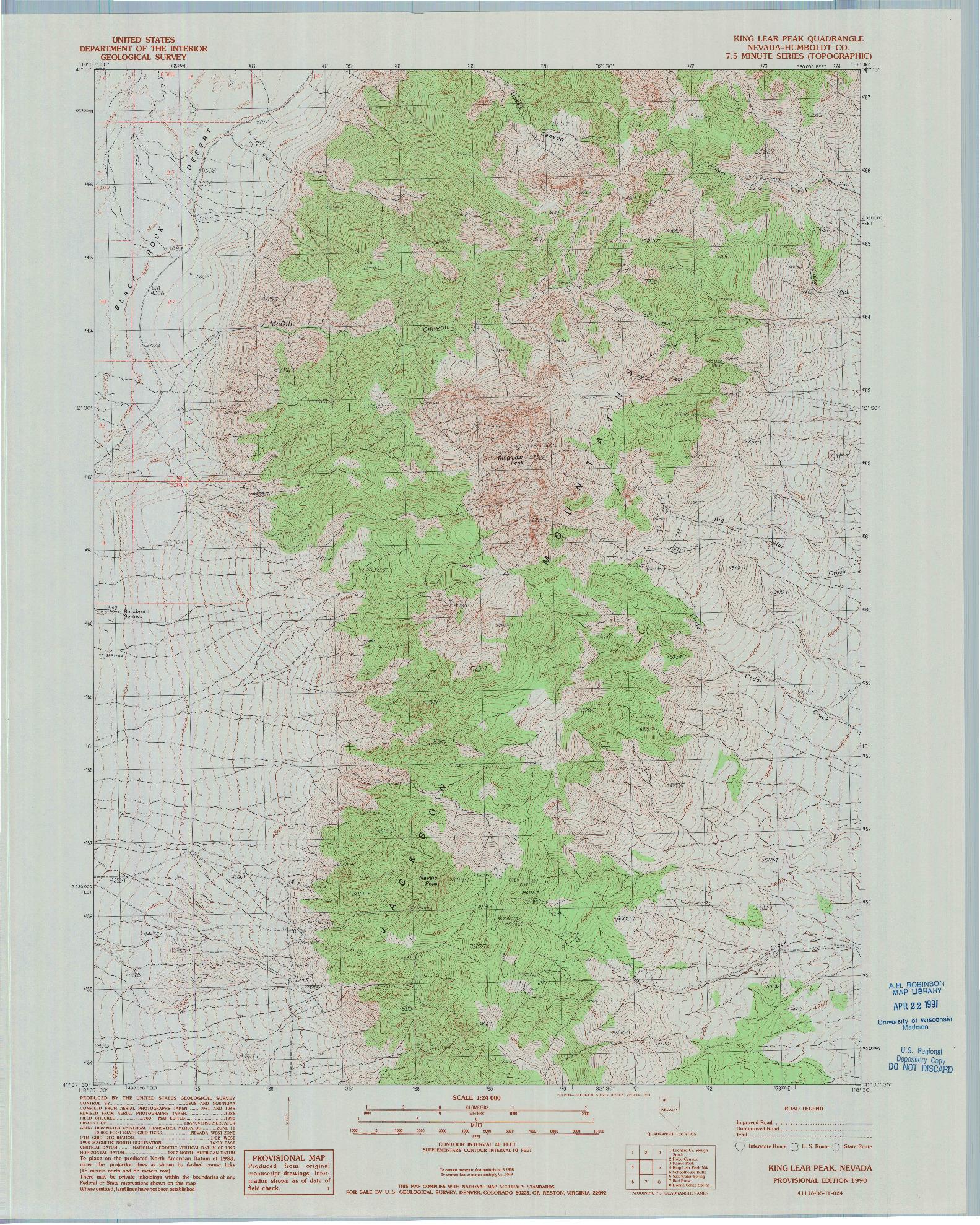 USGS 1:24000-SCALE QUADRANGLE FOR KING LEAR PEAK, NV 1990