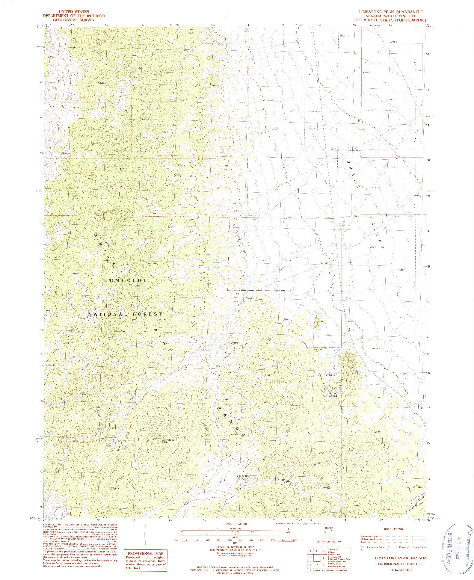 USGS 1:24000-SCALE QUADRANGLE FOR LIMESTONE PEAK, NV 1990