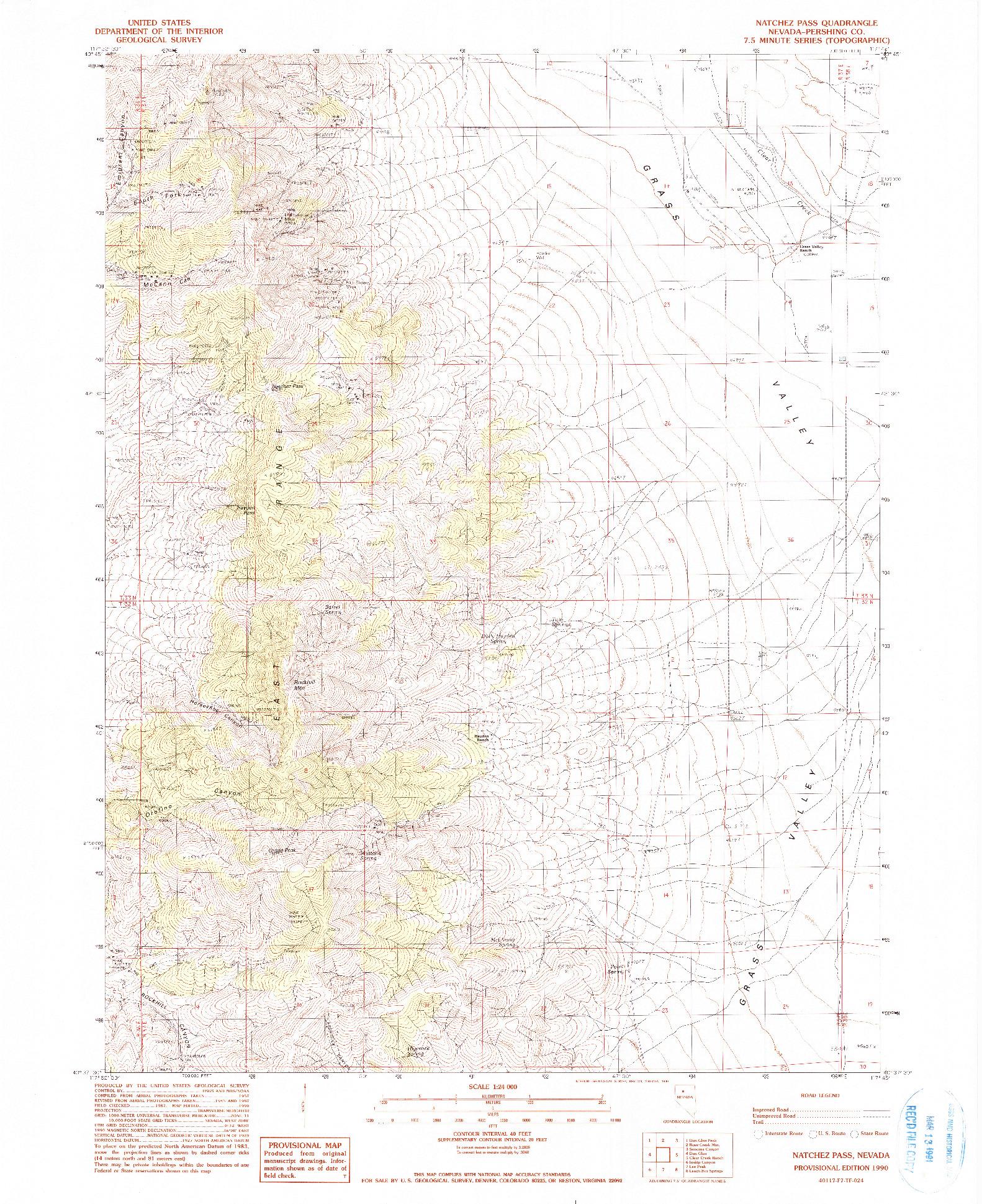 USGS 1:24000-SCALE QUADRANGLE FOR NATCHEZ PASS, NV 1990