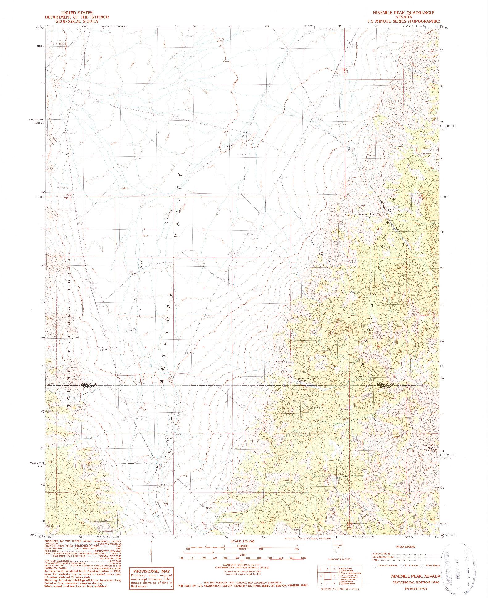 USGS 1:24000-SCALE QUADRANGLE FOR NINEMILE PEAK, NV 1990