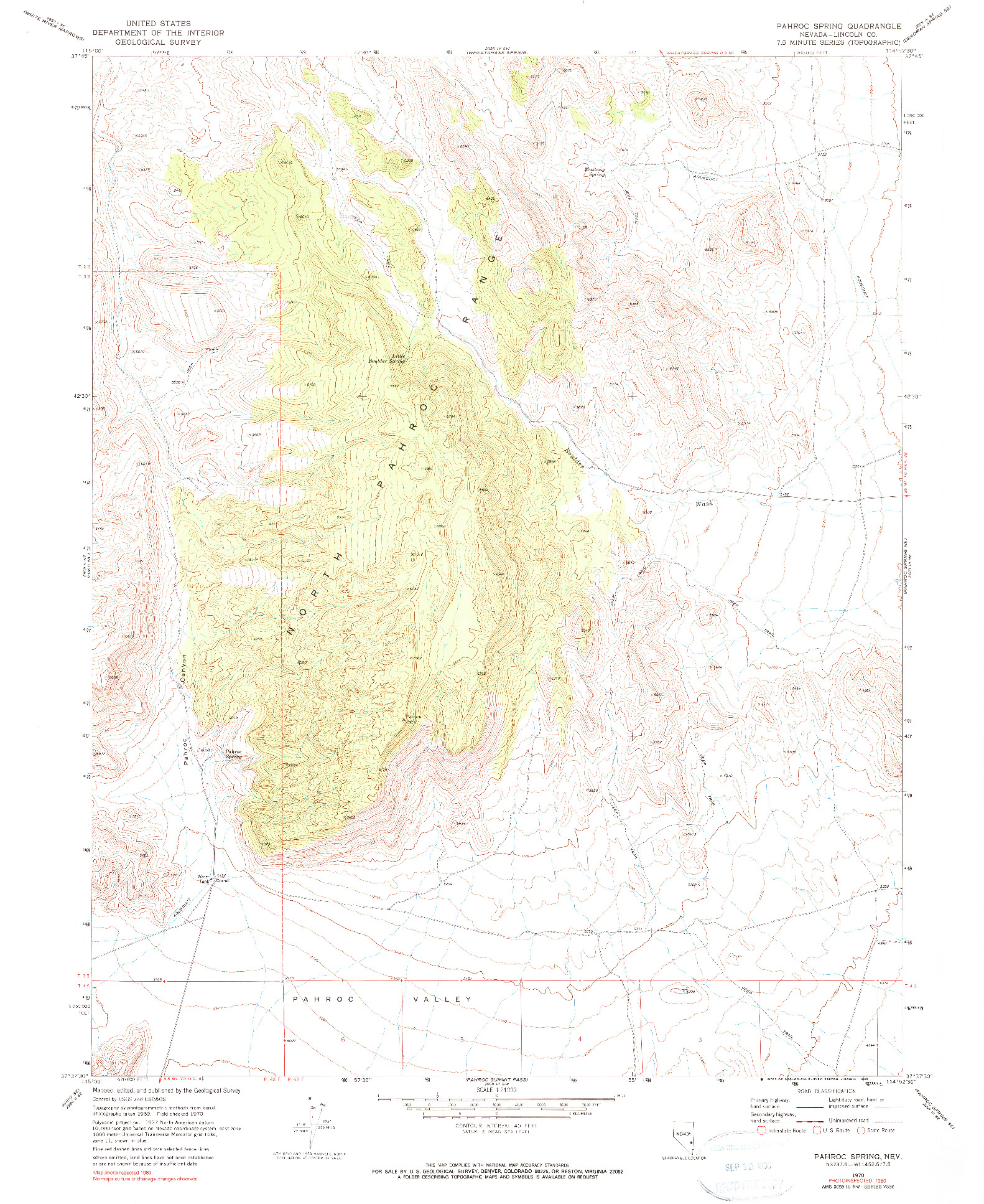 USGS 1:24000-SCALE QUADRANGLE FOR PAHROC SPRING, NV 1970