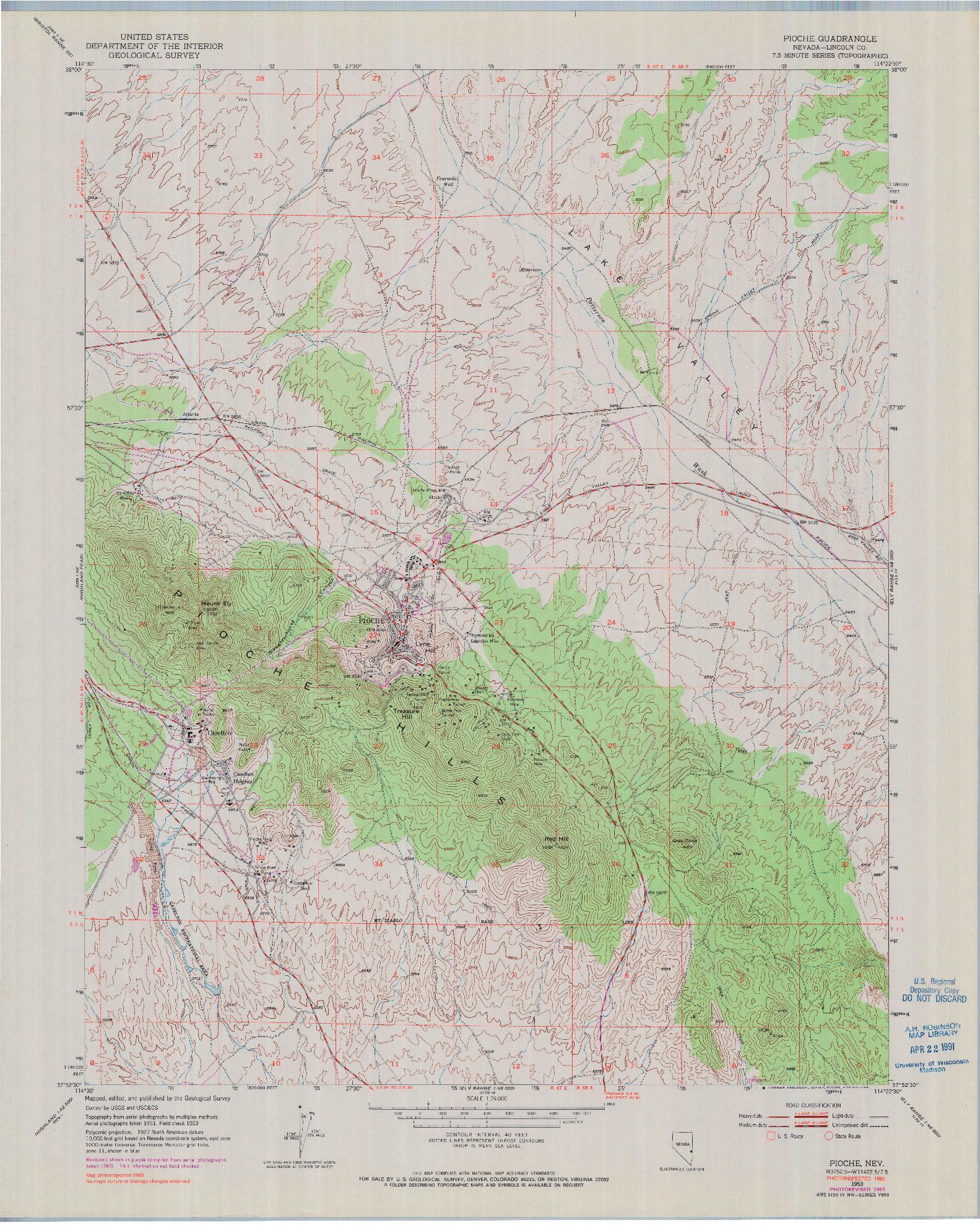 USGS 1:24000-SCALE QUADRANGLE FOR PIOCHE, NV 1953
