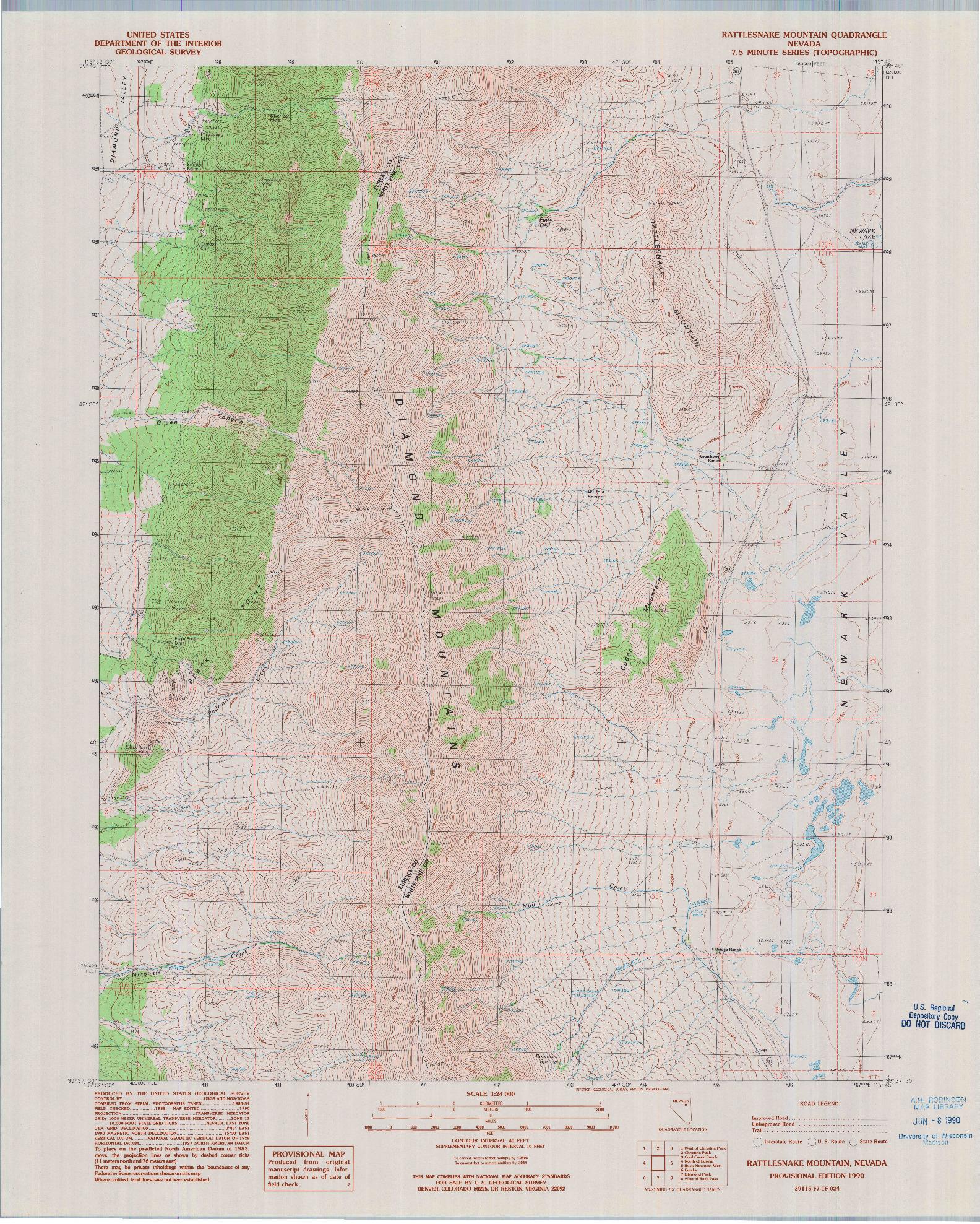 USGS 1:24000-SCALE QUADRANGLE FOR RATTLESNAKE MOUNTAIN, NV 1990
