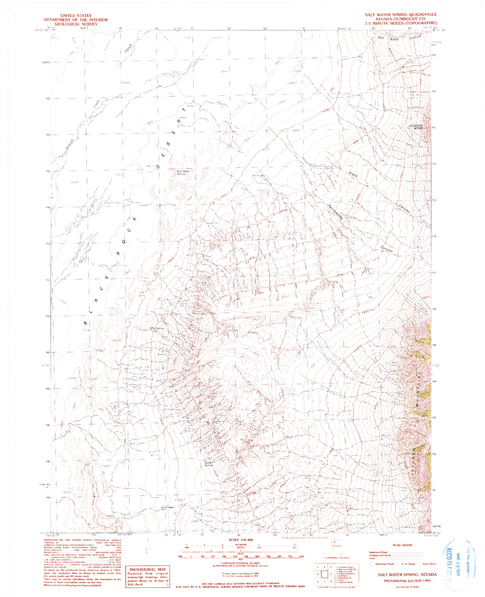 USGS 1:24000-SCALE QUADRANGLE FOR SALT WATER SPRING, NV 1990