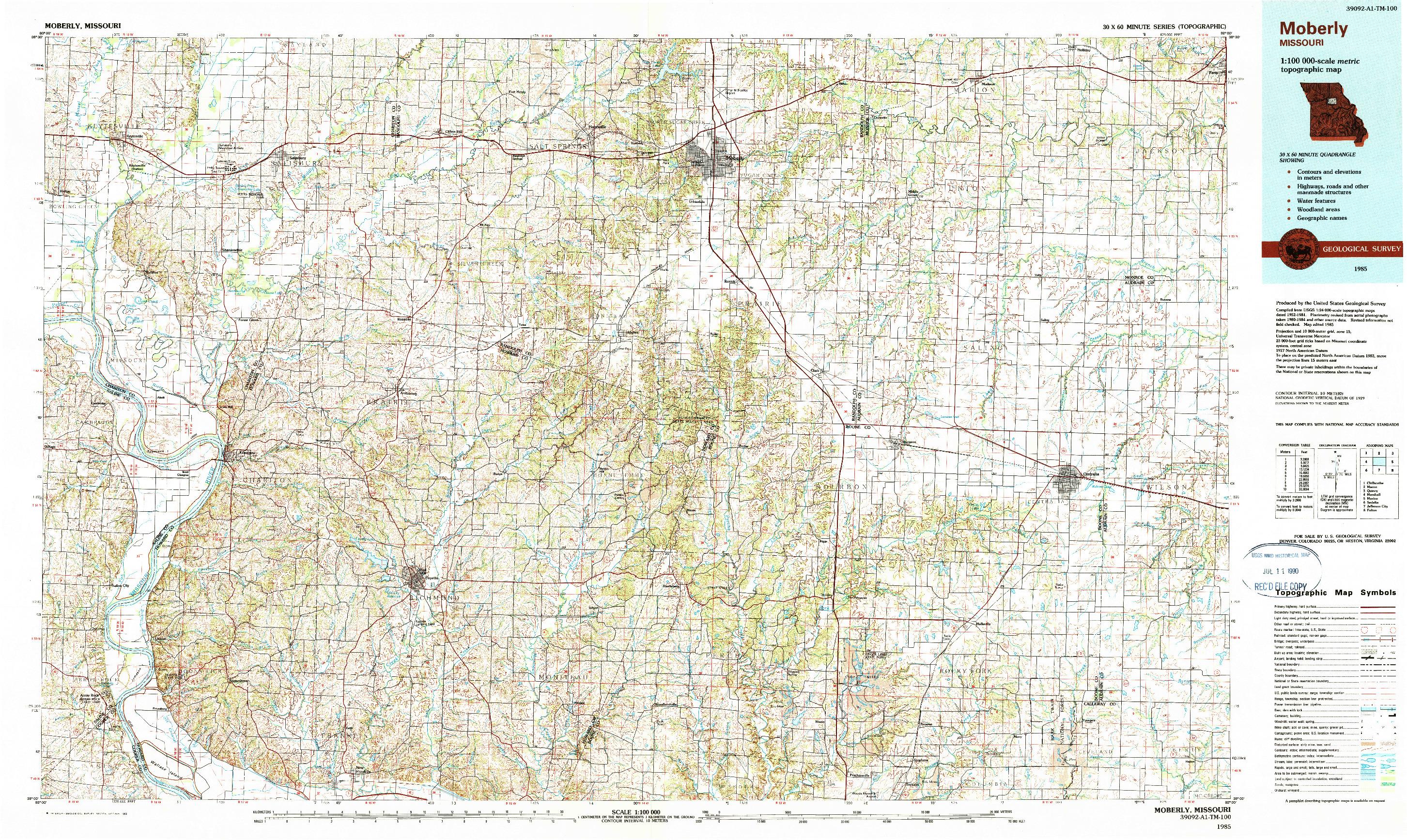 USGS 1:100000-SCALE QUADRANGLE FOR MOBERLY, MO 1985