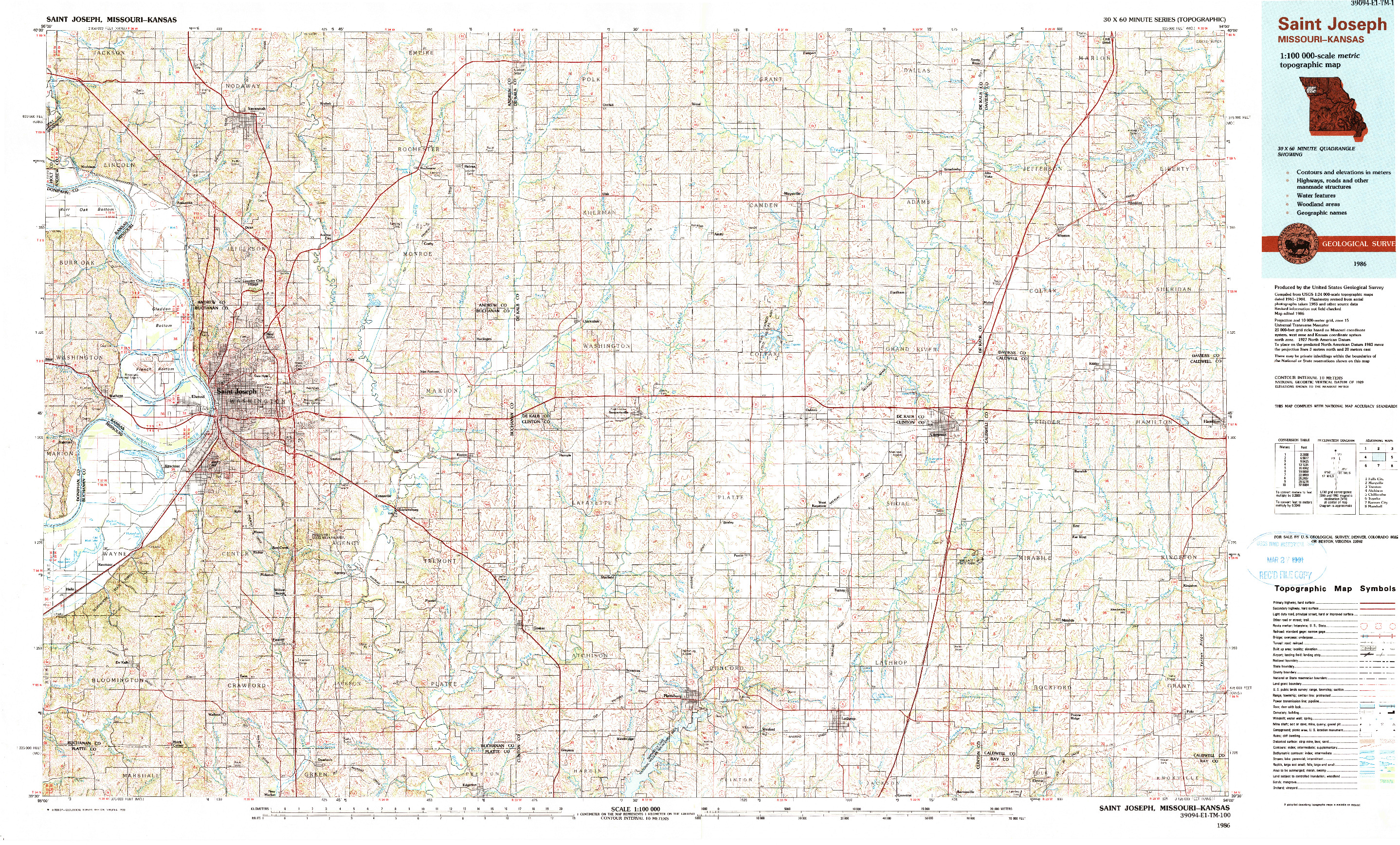USGS 1:100000-SCALE QUADRANGLE FOR SAINT JOSEPH, MO 1986