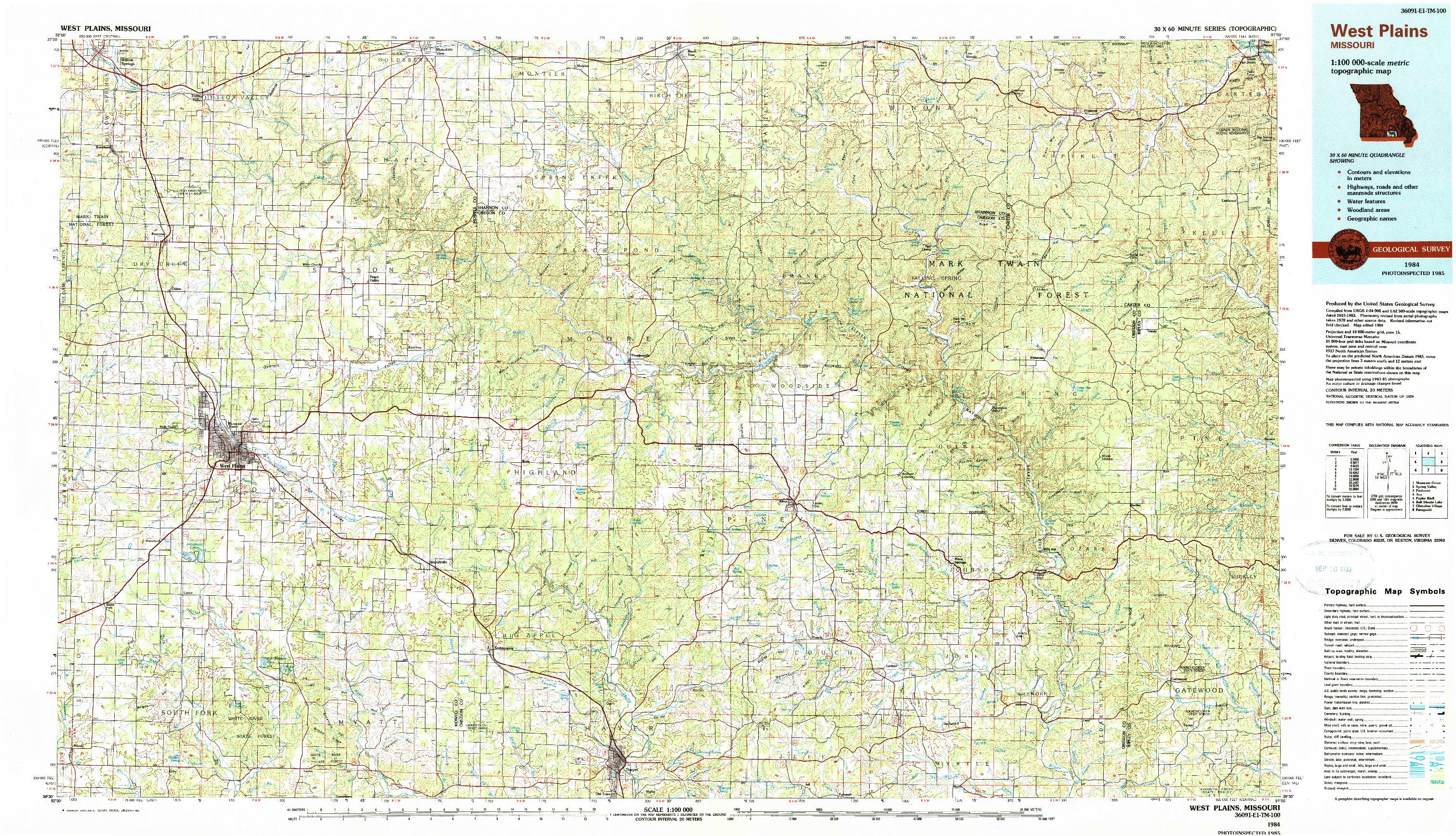 USGS 1:100000-SCALE QUADRANGLE FOR WEST PLAINS, MO 1984