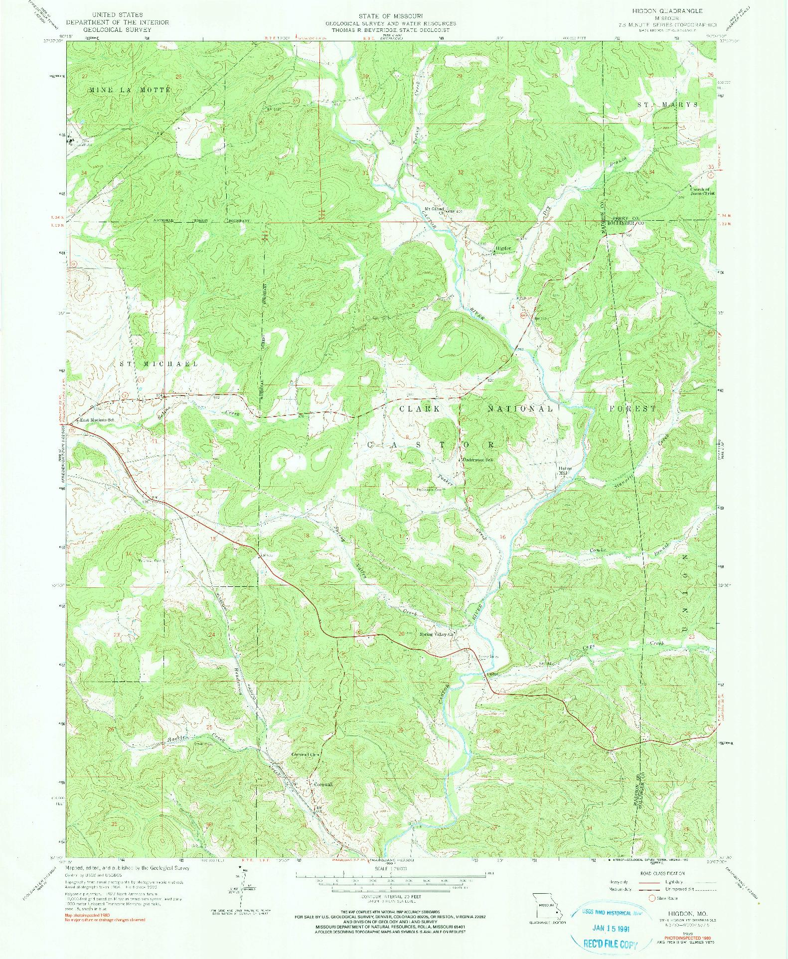USGS 1:24000-SCALE QUADRANGLE FOR HIGDON, MO 1959