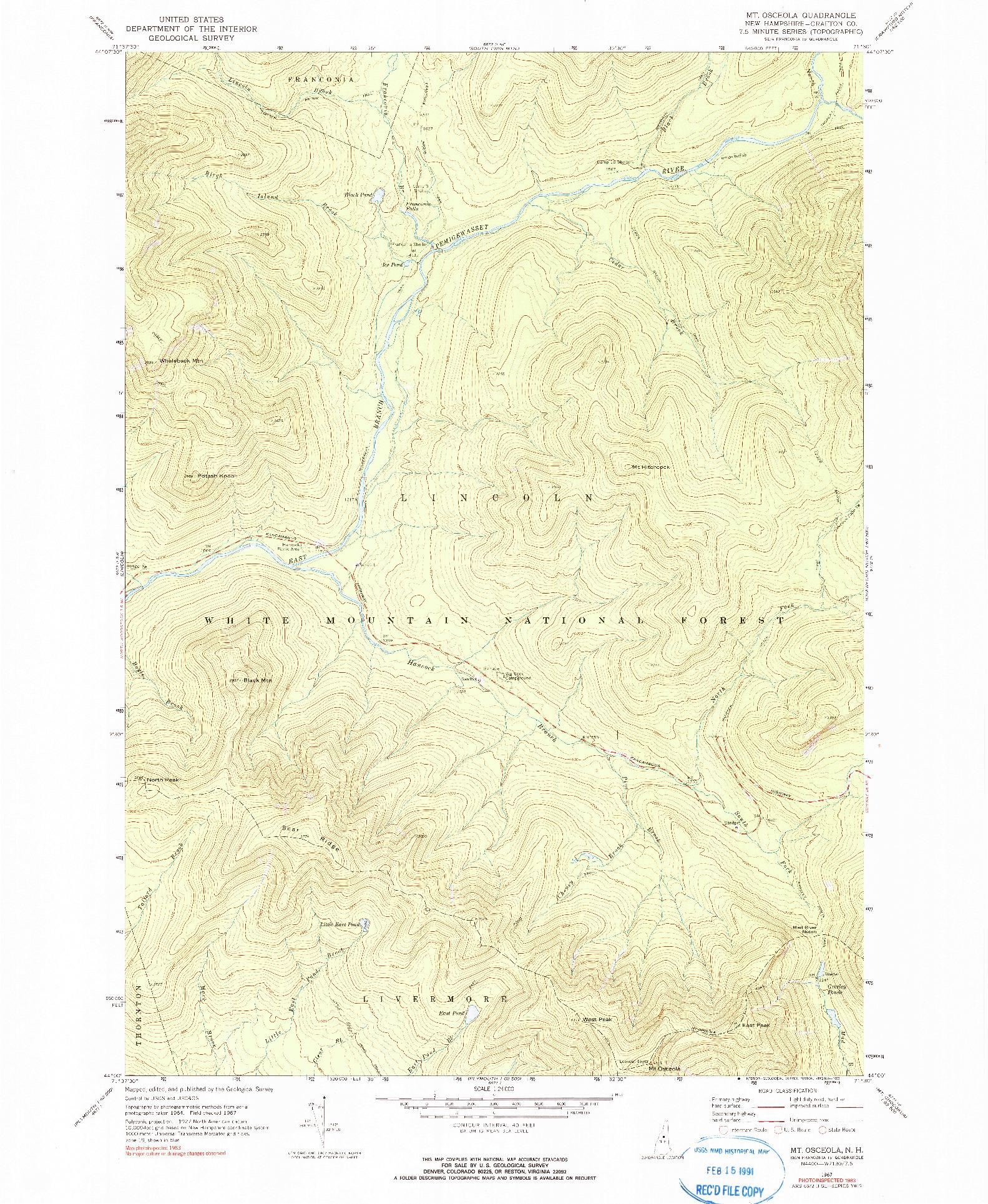 USGS 1:24000-SCALE QUADRANGLE FOR MOUNT OSCEOLA, NH 1967