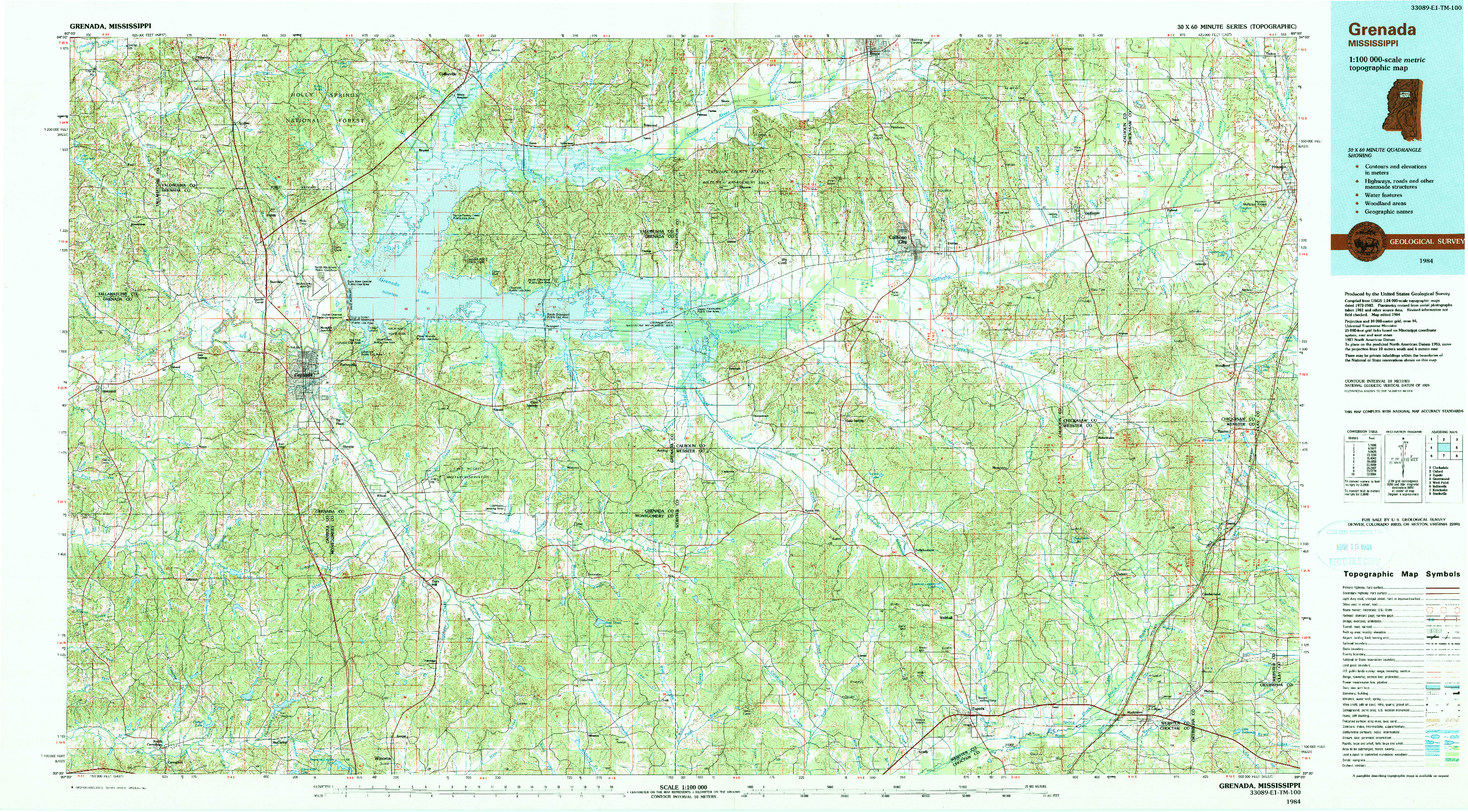 USGS 1:100000-SCALE QUADRANGLE FOR GRENADA, MS 1984