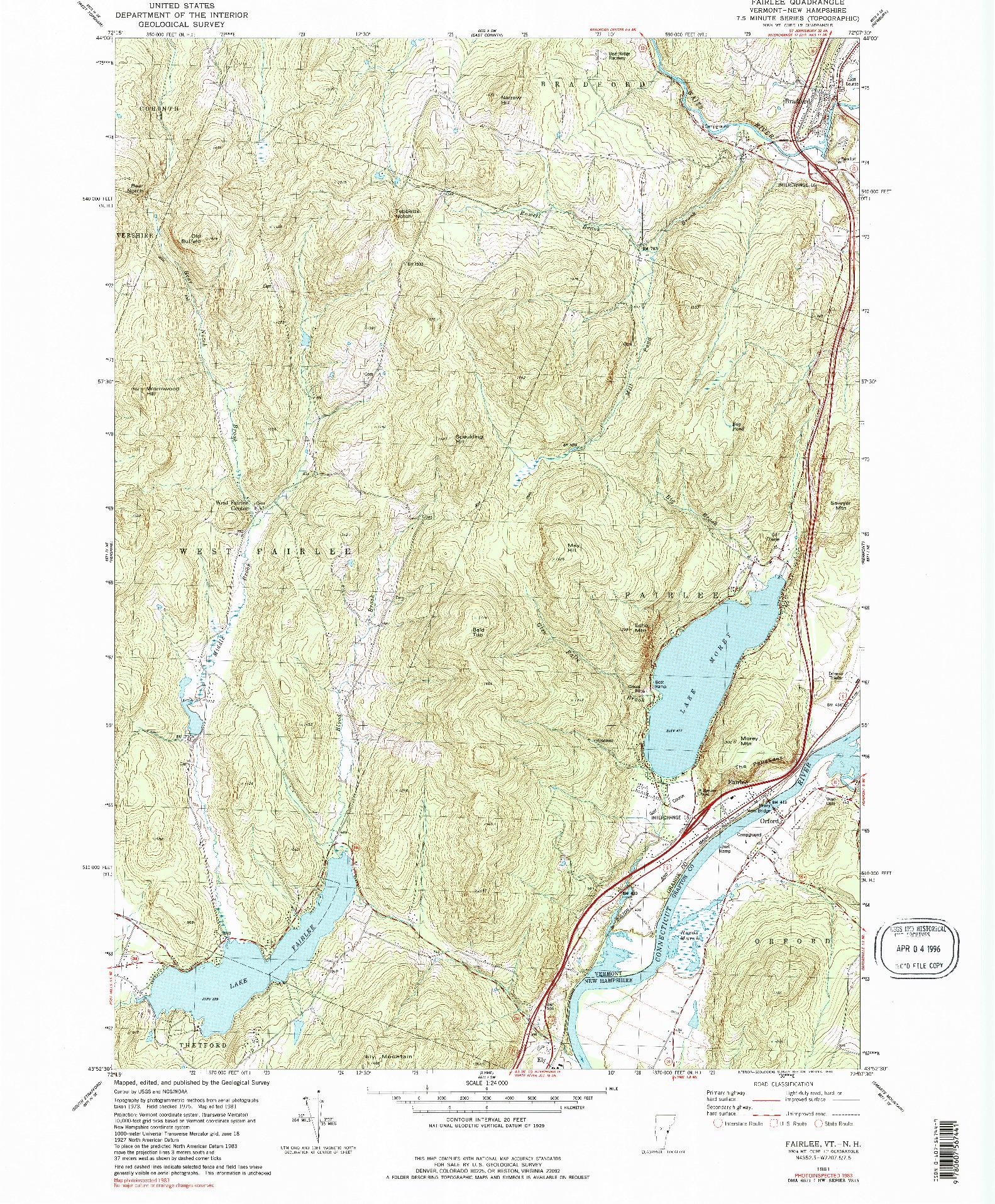 USGS 1:24000-SCALE QUADRANGLE FOR FAIRLEE, VT 1981