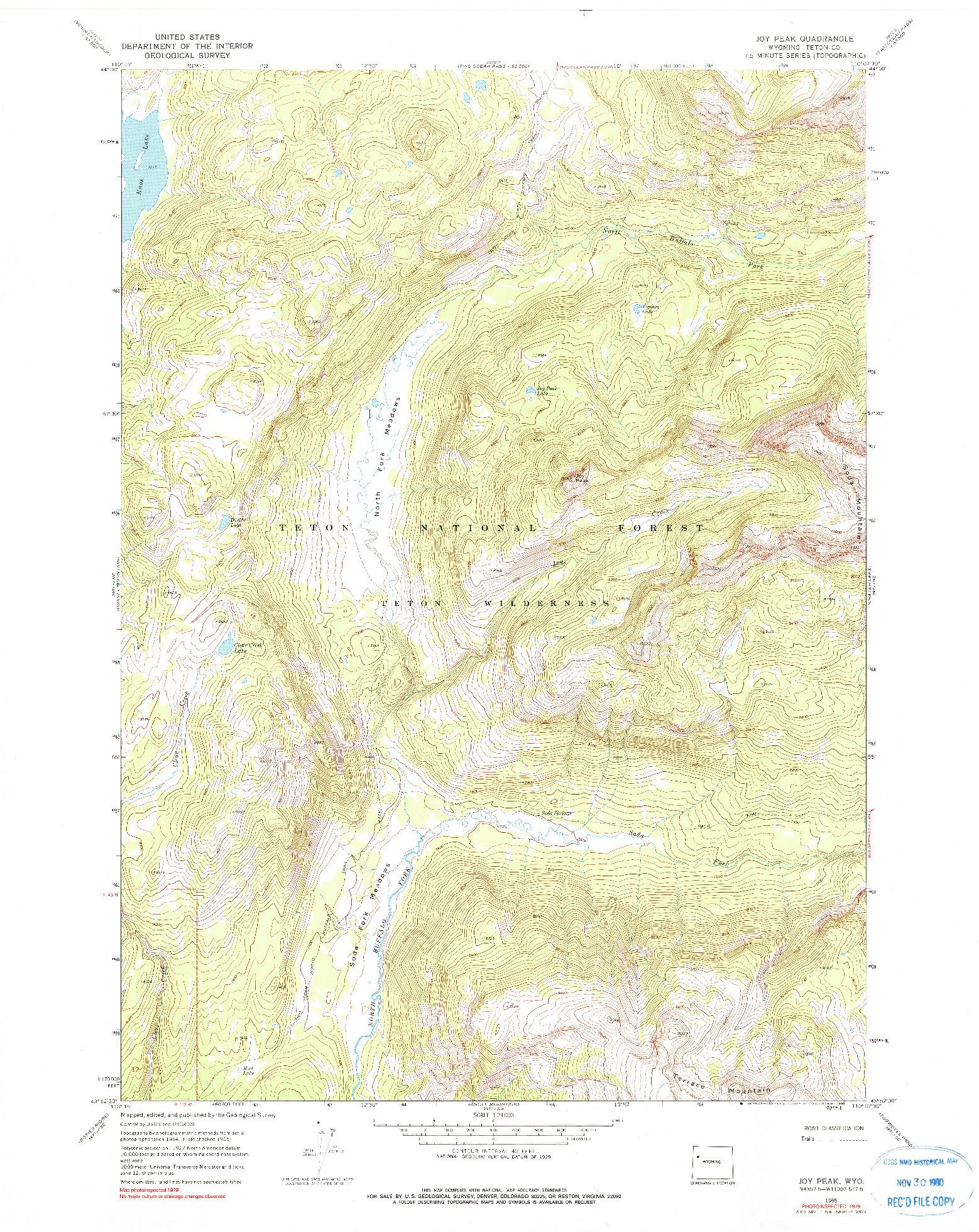 USGS 1:24000-SCALE QUADRANGLE FOR JOY PEAK, WY 1965