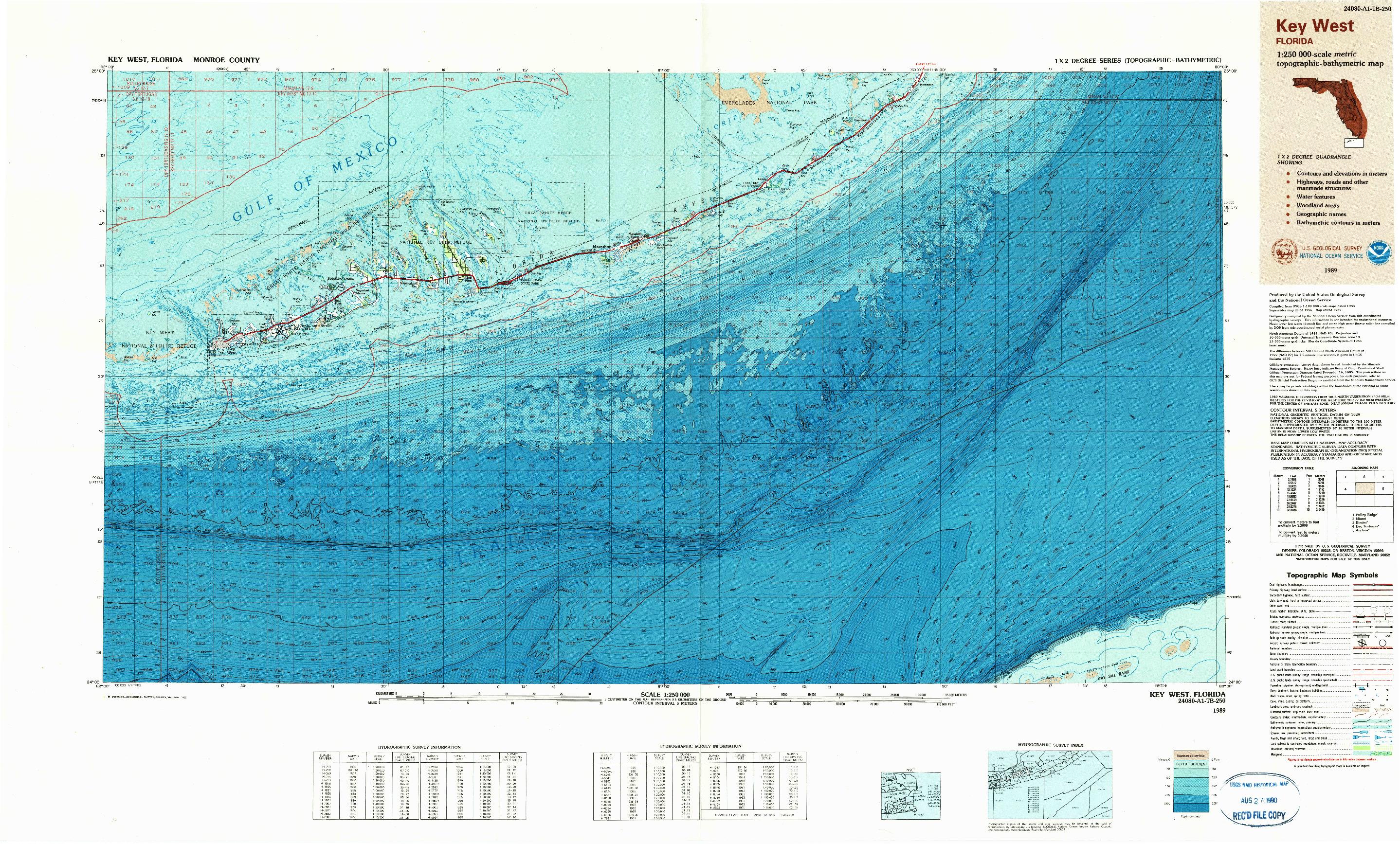 USGS 1:250000-SCALE QUADRANGLE FOR KEY WEST, FL 1989