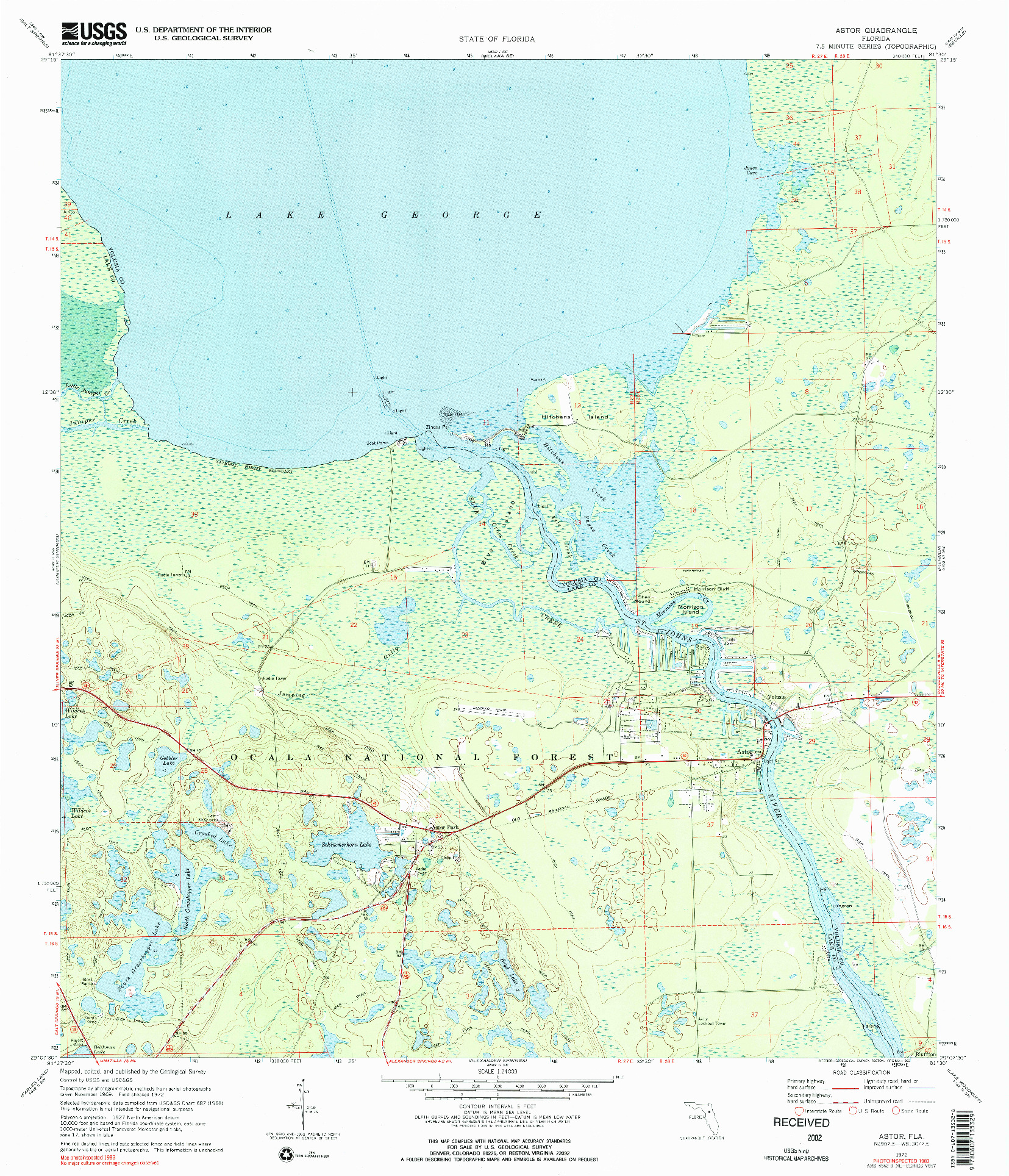 USGS 1:24000-SCALE QUADRANGLE FOR ASTOR, FL 1972