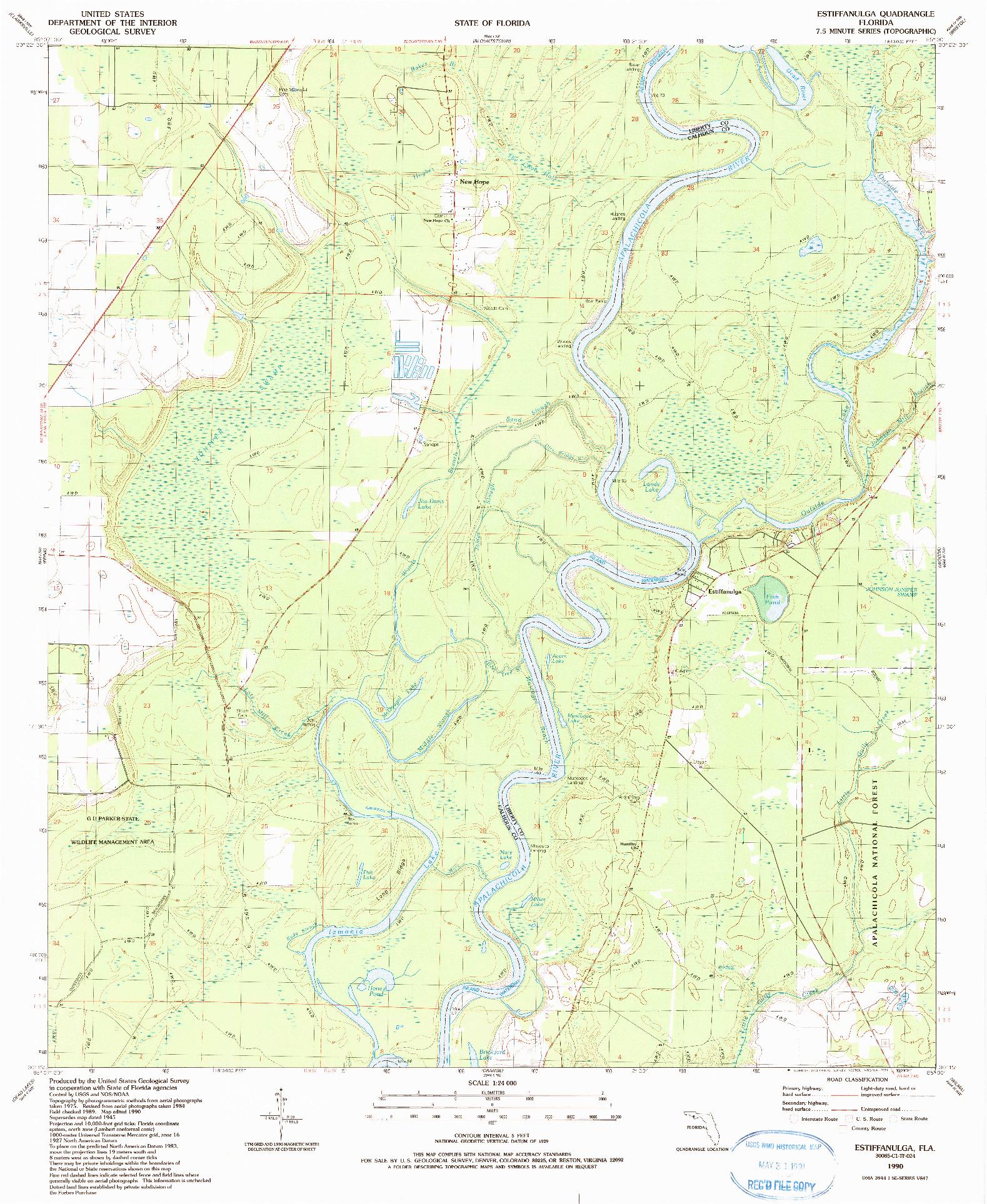 USGS 1:24000-SCALE QUADRANGLE FOR ESTIFFANULGA, FL 1990