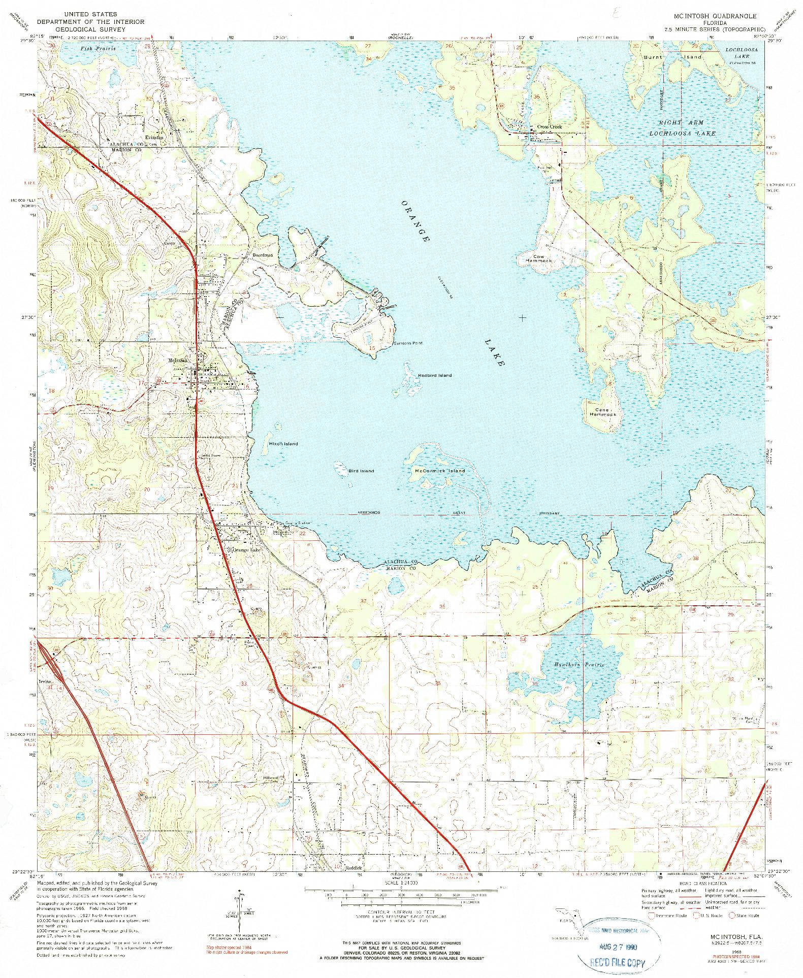 USGS 1:24000-SCALE QUADRANGLE FOR MCINTOSH, FL 1968