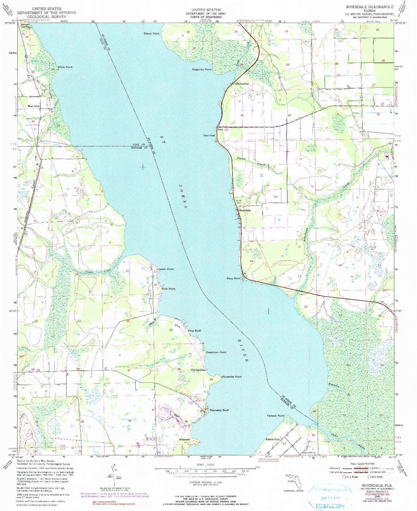 USGS 1:24000-SCALE QUADRANGLE FOR RIVERDALE, FL 1949