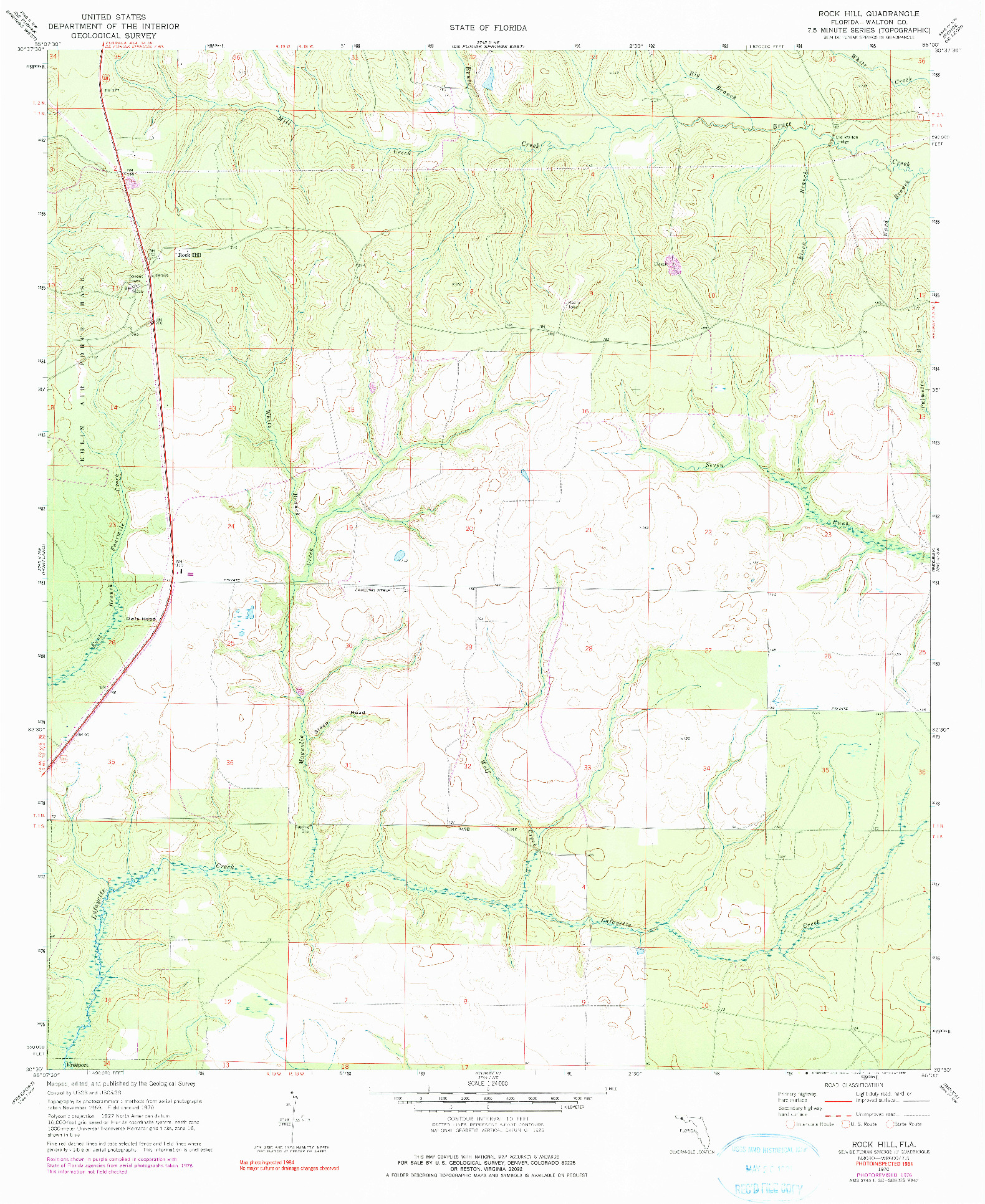 USGS 1:24000-SCALE QUADRANGLE FOR ROCK HILL, FL 1970