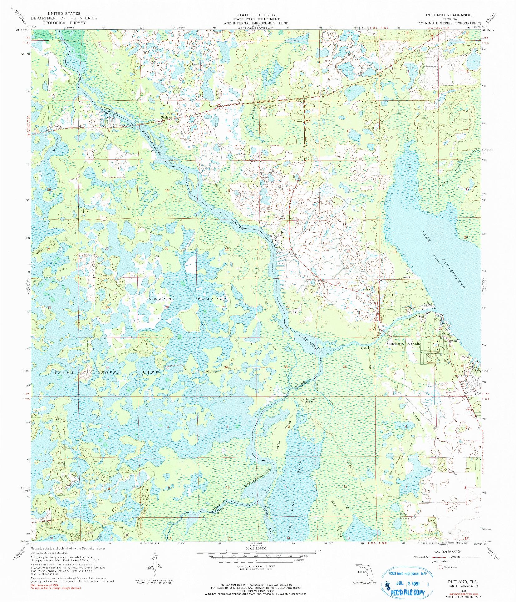 USGS 1:24000-SCALE QUADRANGLE FOR RUTLAND, FL 1967