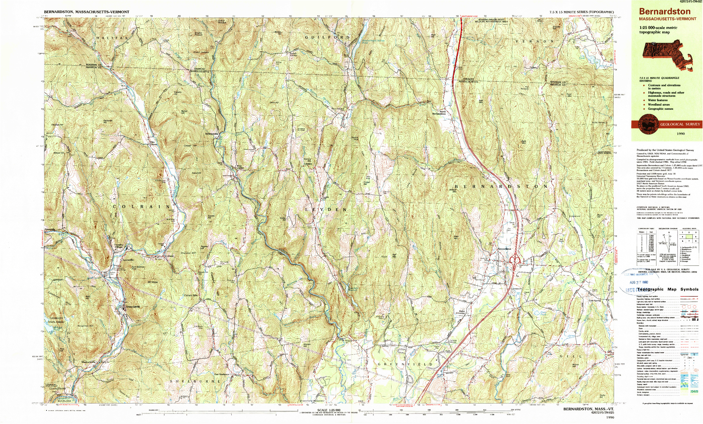 USGS 1:25000-SCALE QUADRANGLE FOR BERNARDSTON, MA 1990