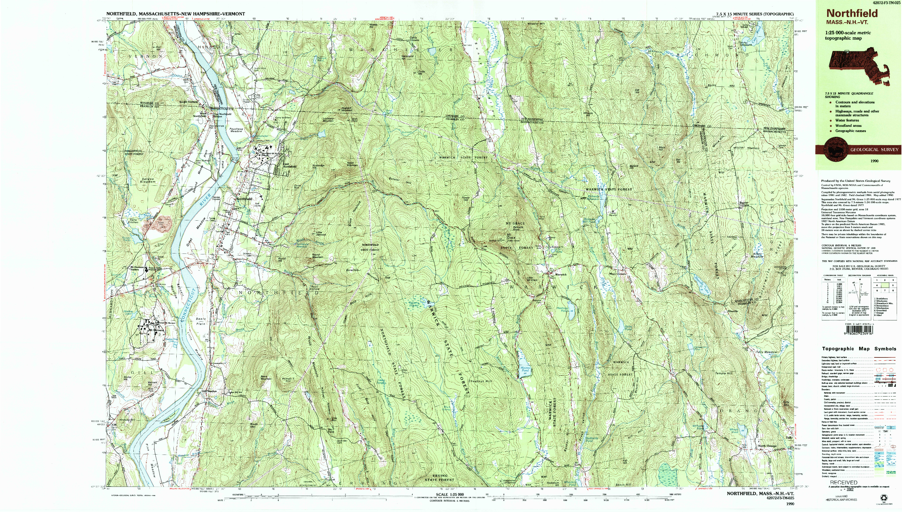 USGS 1:25000-SCALE QUADRANGLE FOR NORTHFIELD, MA 1990