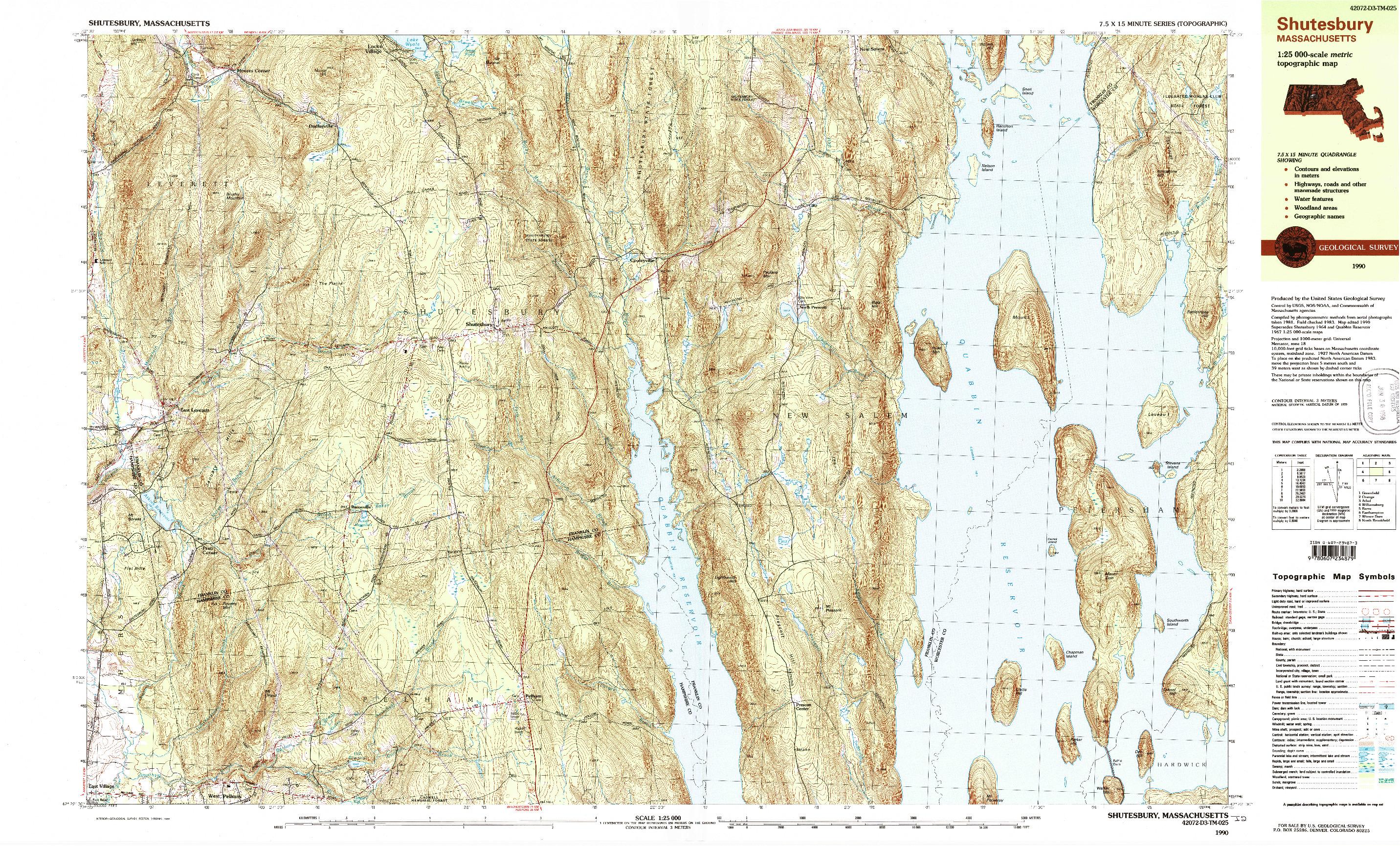 USGS 1:25000-SCALE QUADRANGLE FOR SHUTESBURY, MA 1990