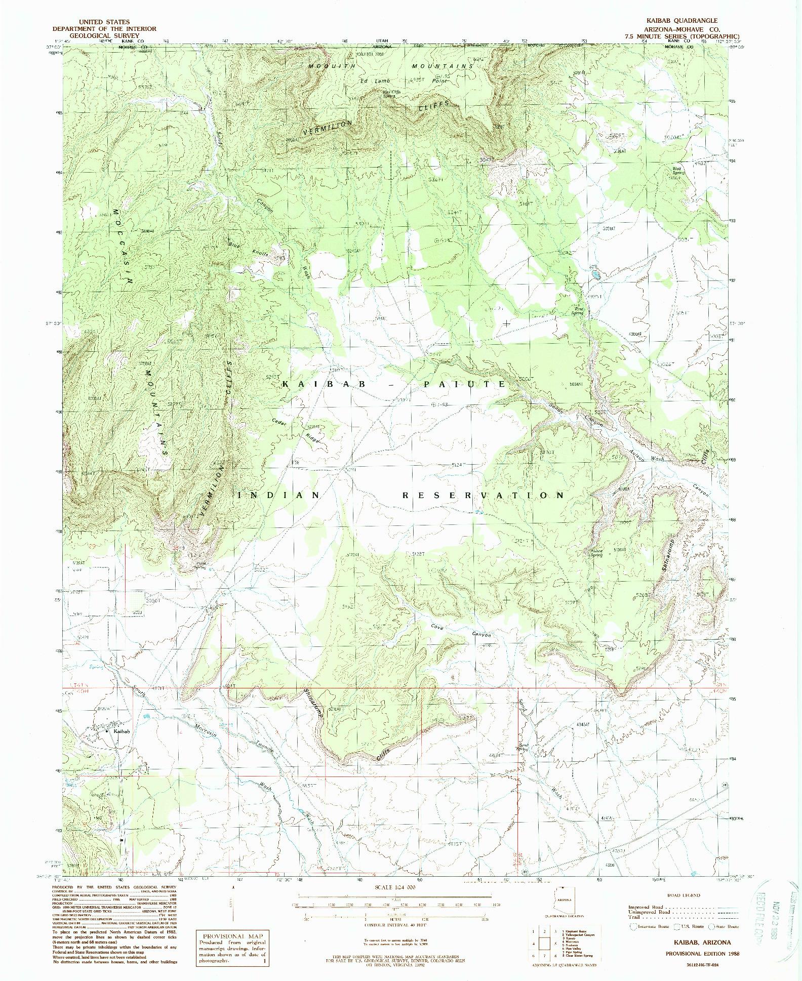 USGS 1:24000-SCALE QUADRANGLE FOR KAIBAB, AZ 1988