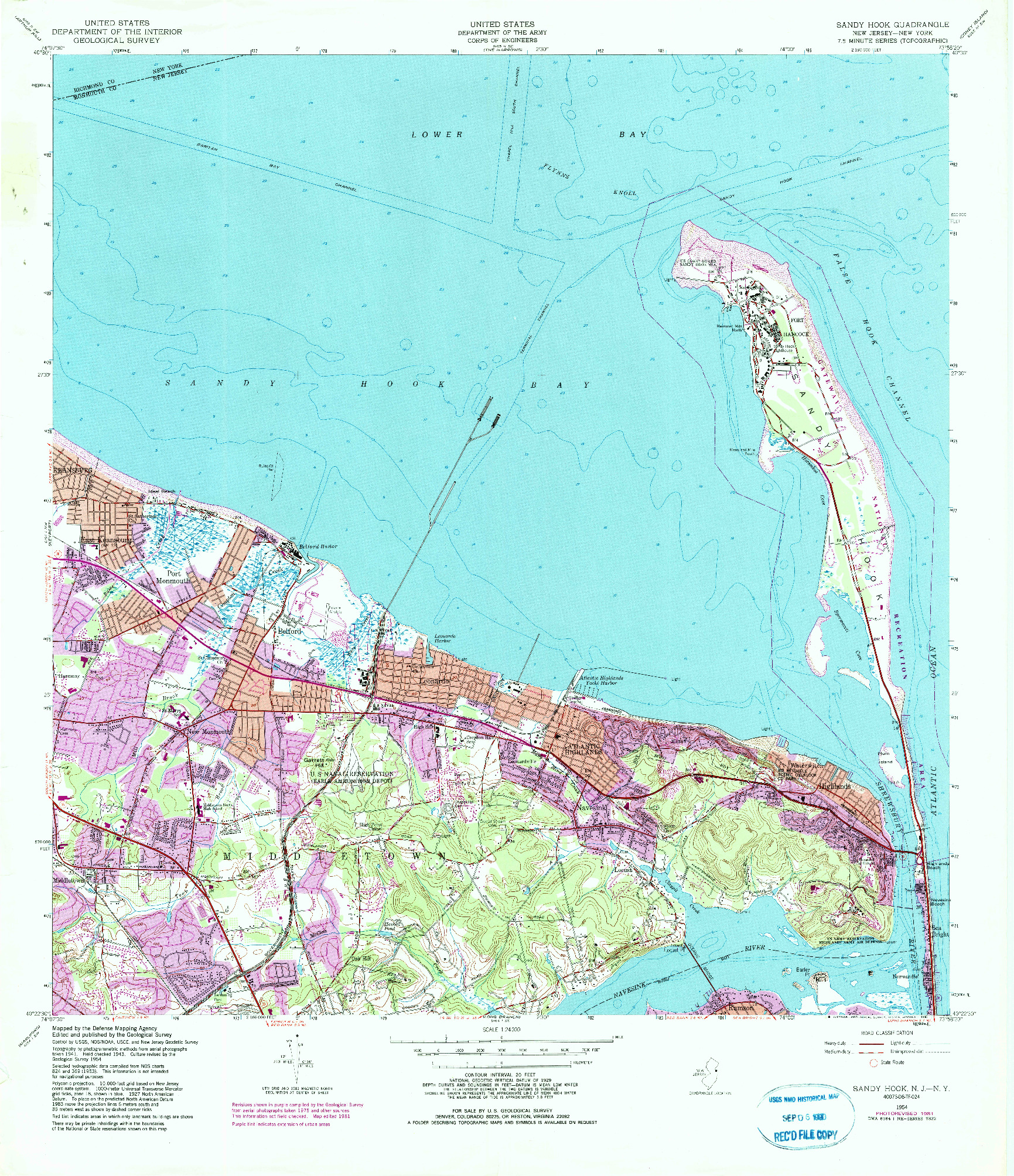 USGS 1:24000-SCALE QUADRANGLE FOR SANDY HOOK, NJ 1954