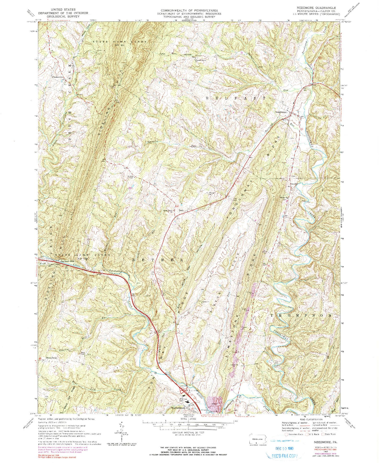 USGS 1:24000-SCALE QUADRANGLE FOR NEEDMORE, PA 1967