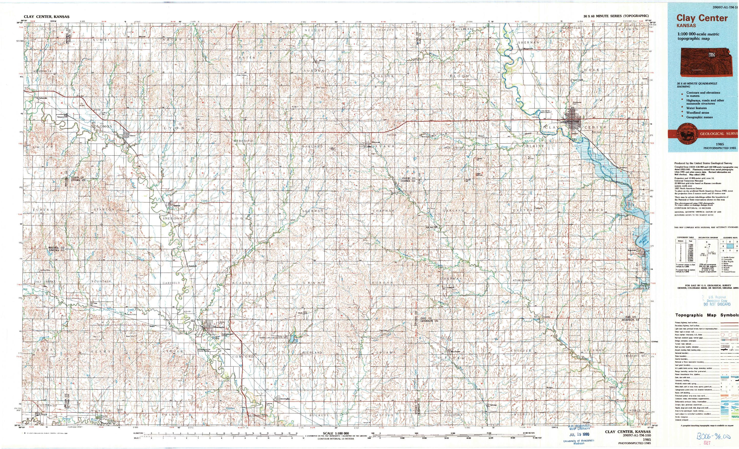 USGS 1:100000-SCALE QUADRANGLE FOR CLAY CENTER, KS 1985