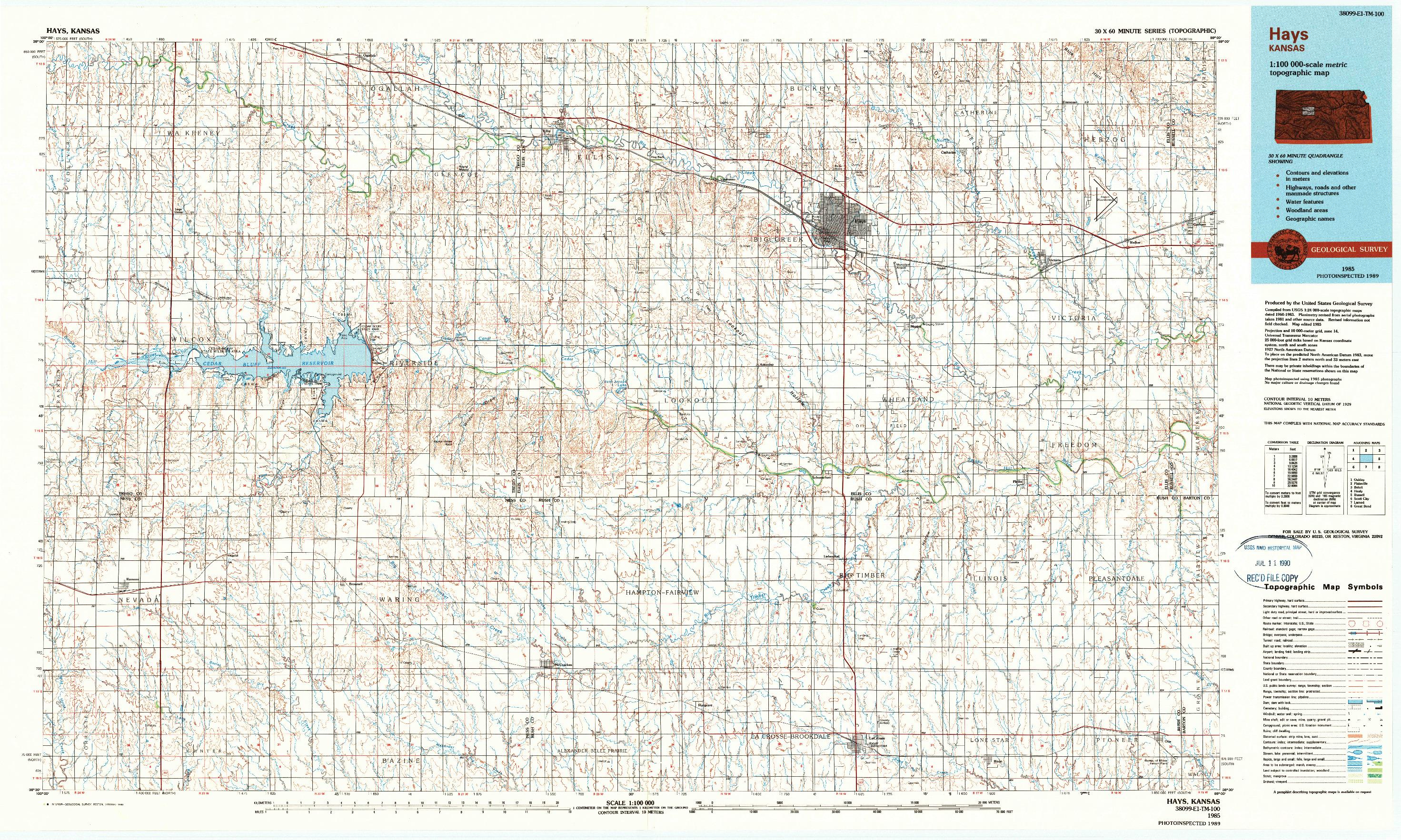 USGS 1:100000-SCALE QUADRANGLE FOR HAYS, KS 1985
