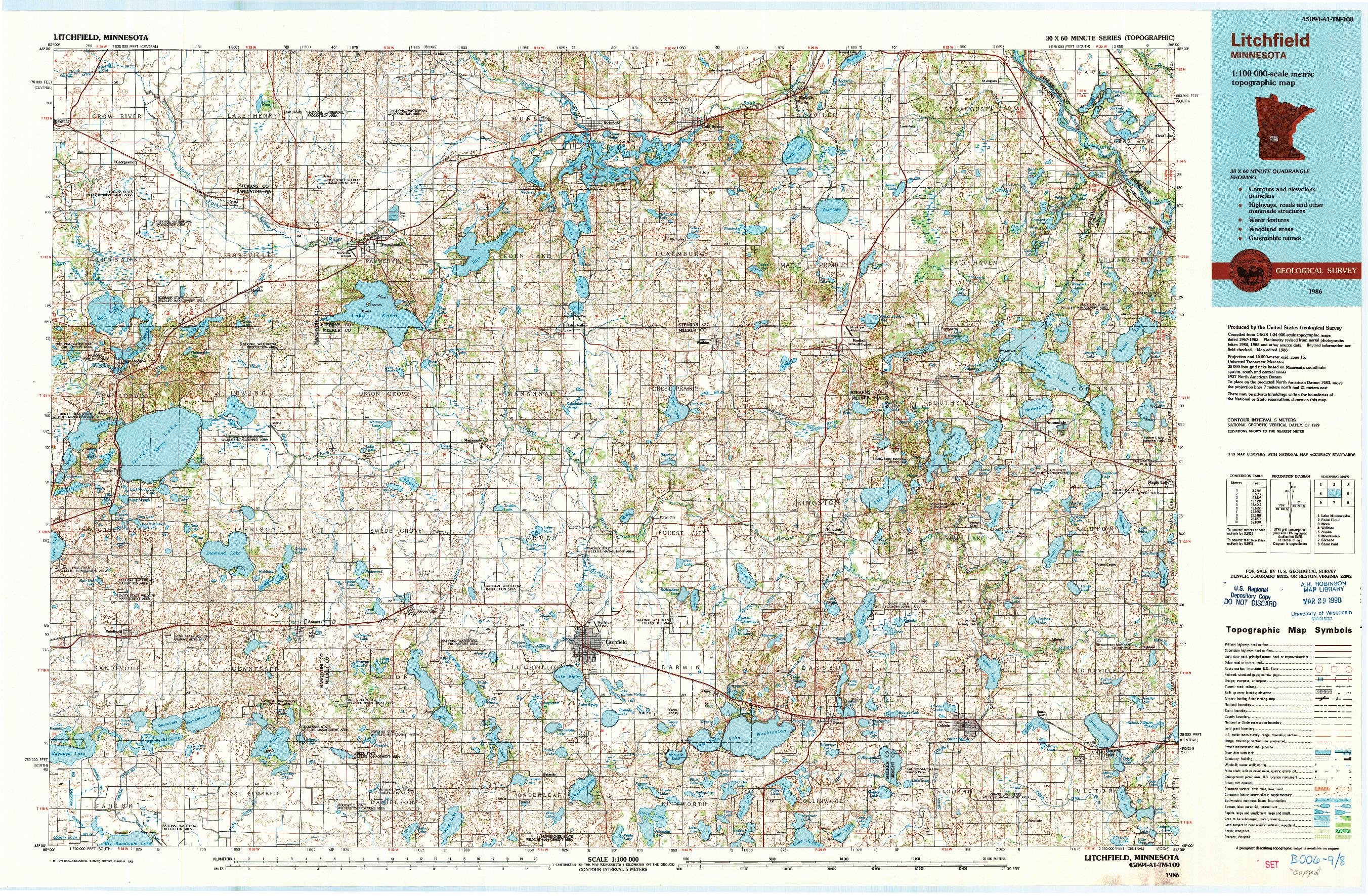 USGS 1:100000-SCALE QUADRANGLE FOR LITCHFIELD, MN 1986
