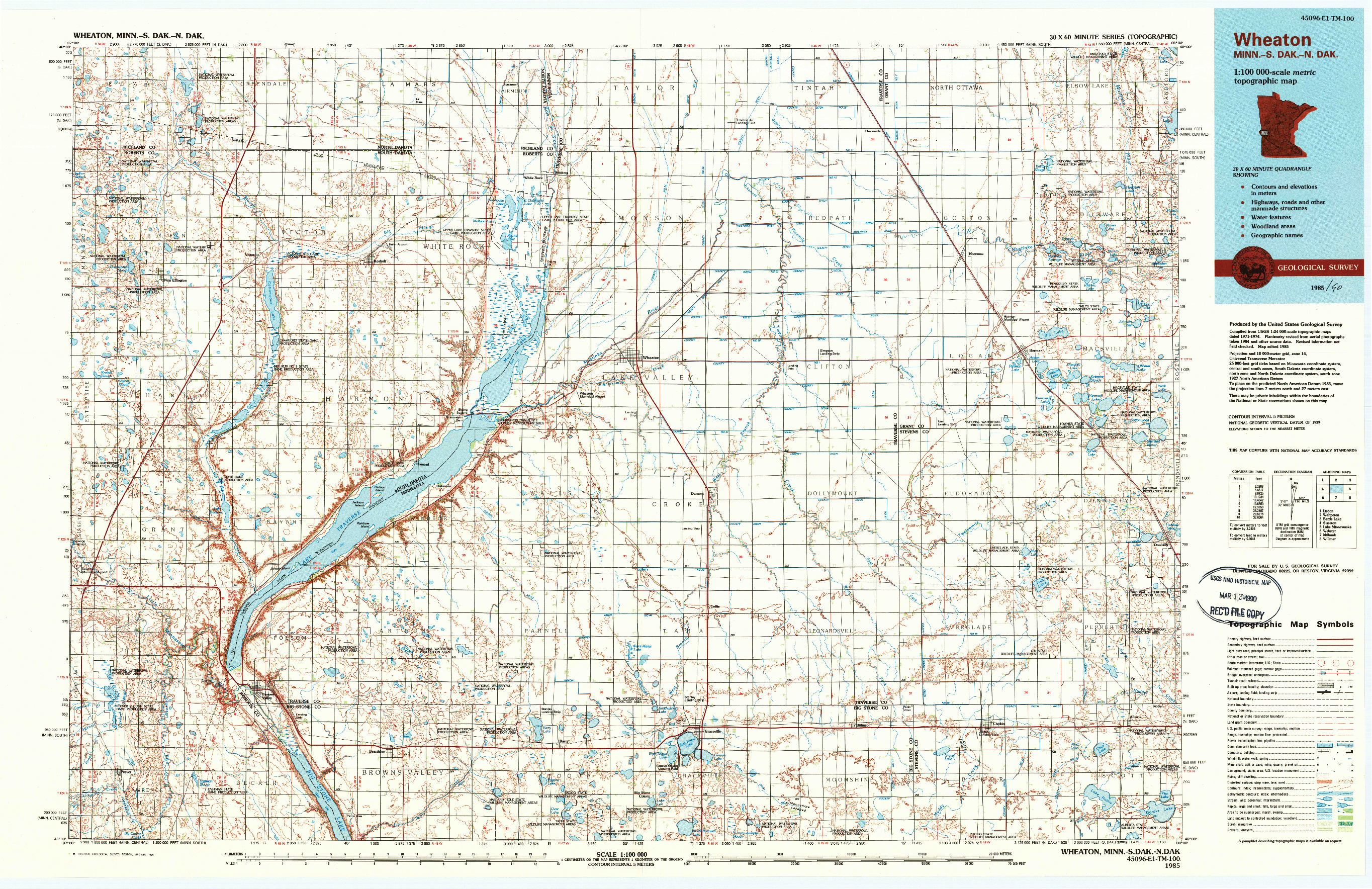 USGS 1:100000-SCALE QUADRANGLE FOR WHEATON, MN 1985
